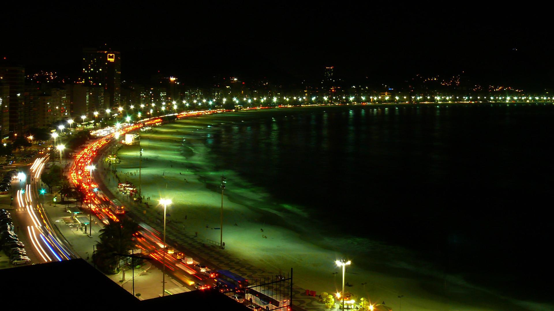 Copacabana Beach Night View Wallpaper