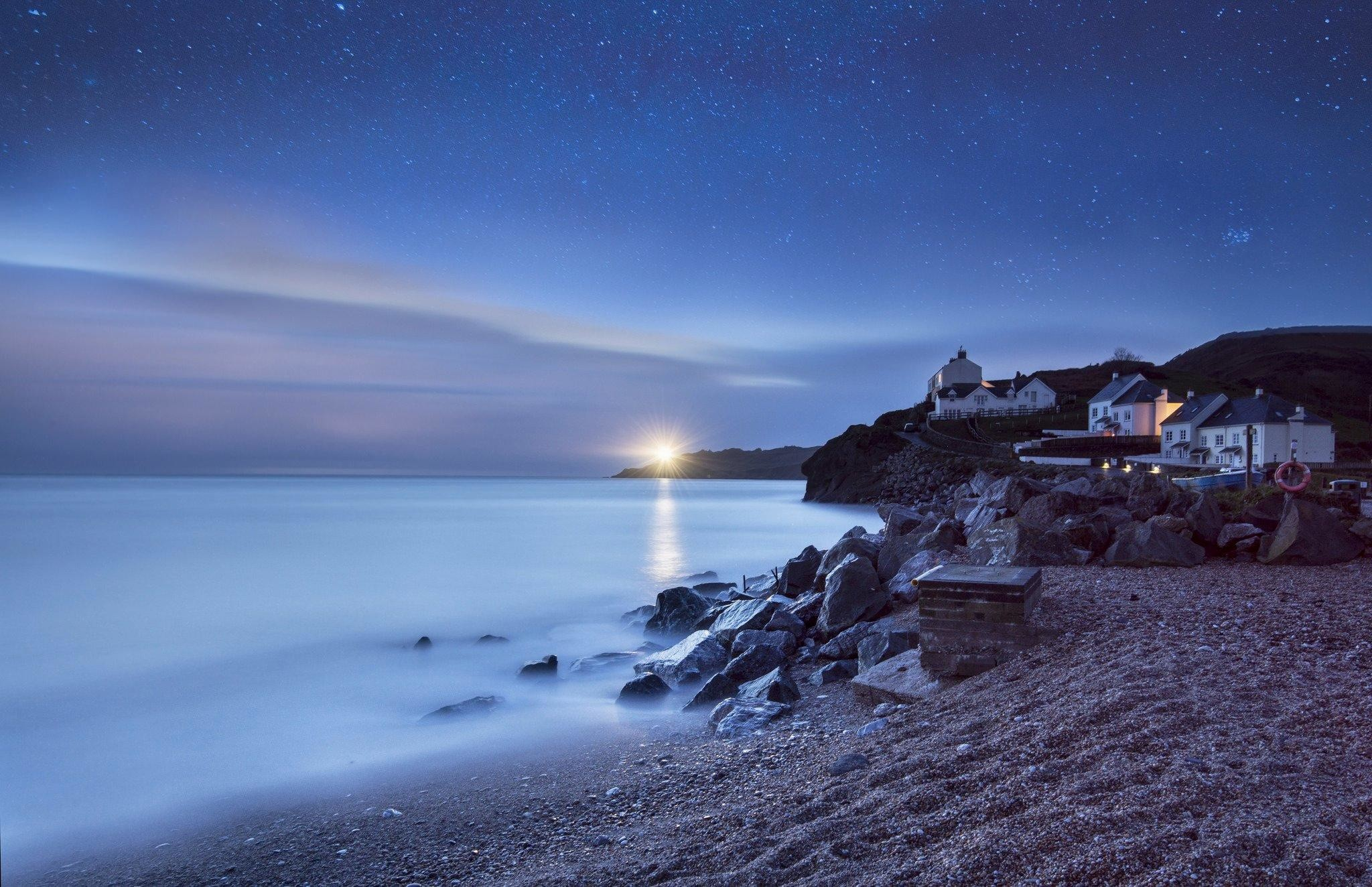 wallpaper.wiki-Free-Download-Beach-At-Night-Image-