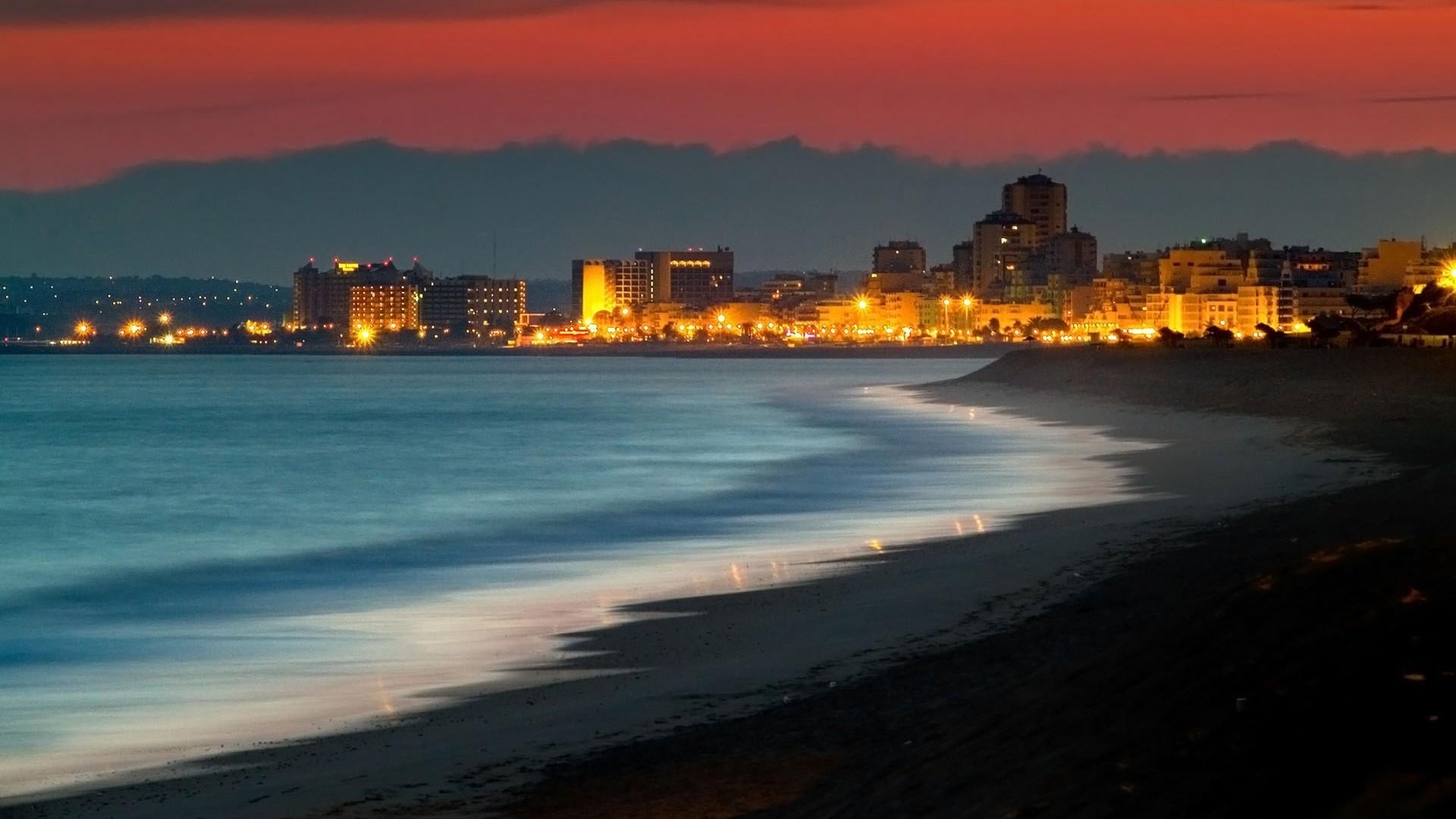Wallpaper kusadasi, turkey, beach, night, building, light, ocean