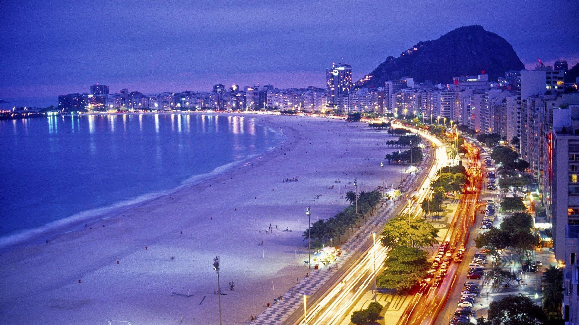 Rio de Janeiro Beach Night Wallpaper – Free Download Wallpaper .