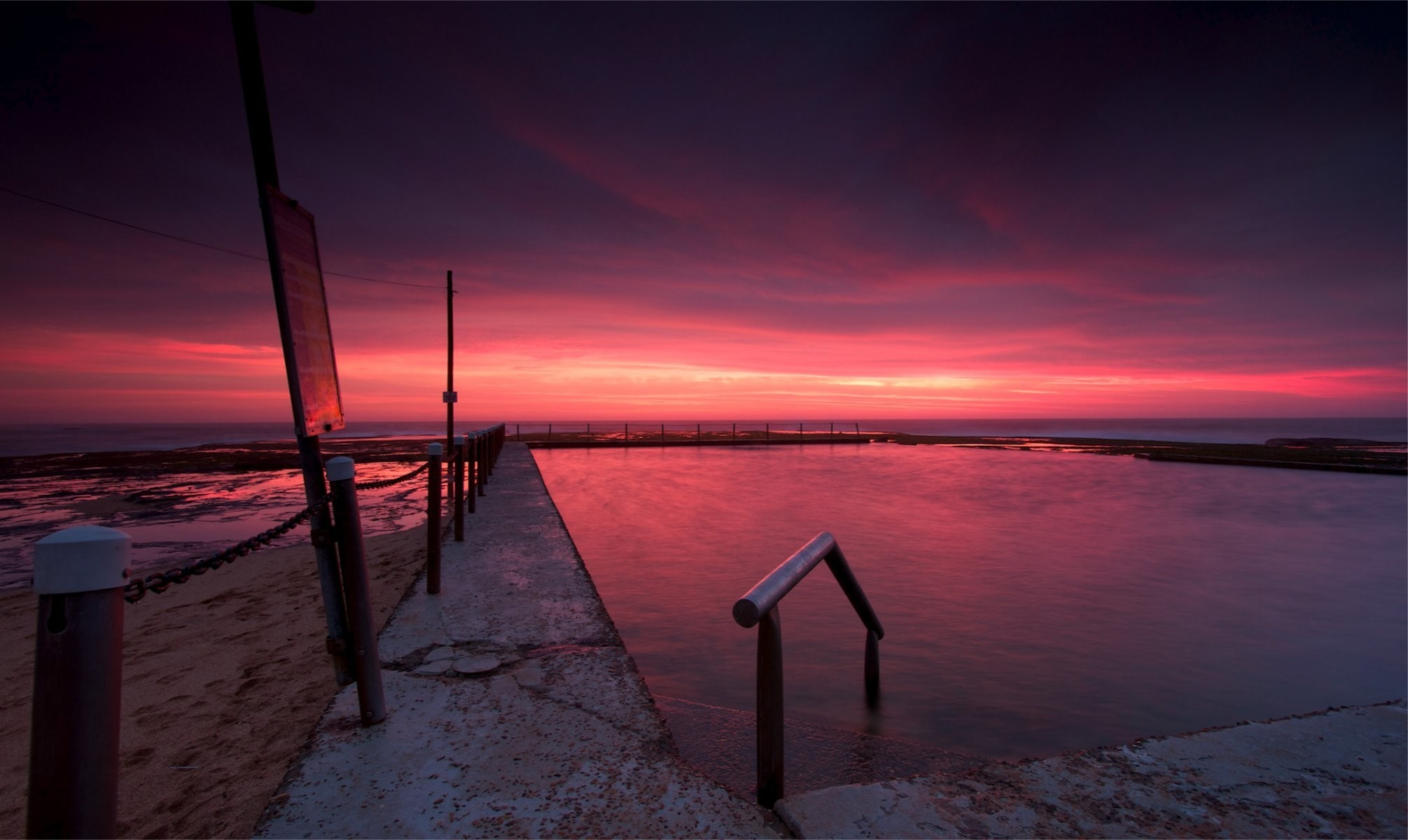 australia beach night twilight sunset sky clouds
