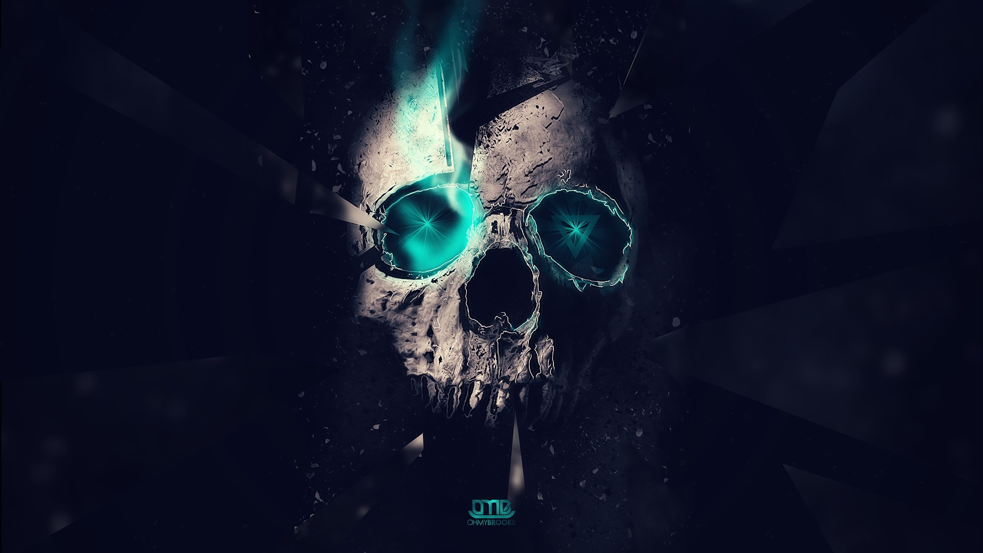 skull, abstract. blue lights, Triangles, lighting, space, hd wallpaper