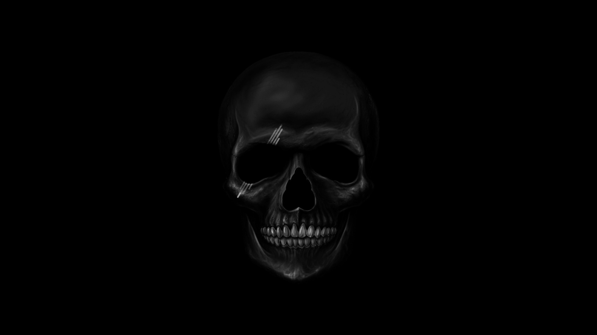 Preview wallpaper skull, art, teeth, bones 2048×1152