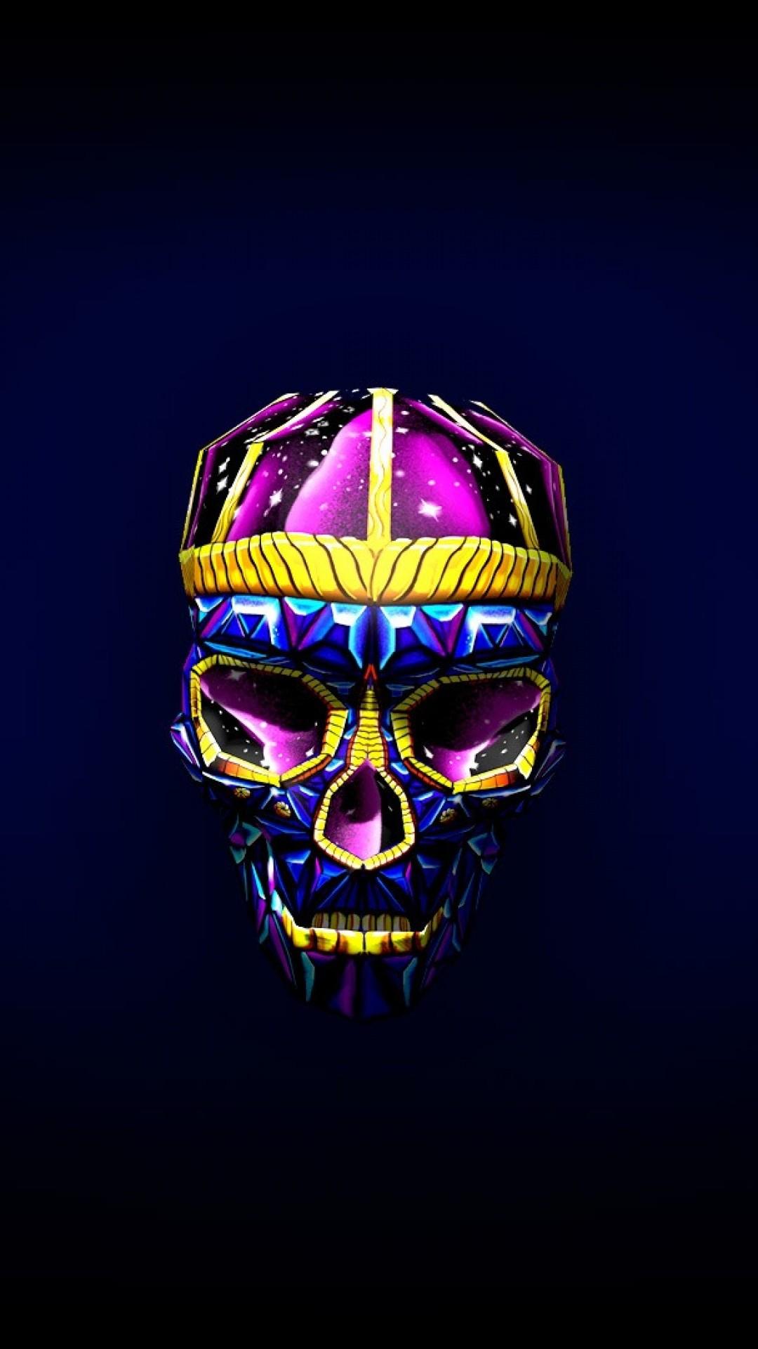 Preview wallpaper skull, art, bright, 3d 1080×1920