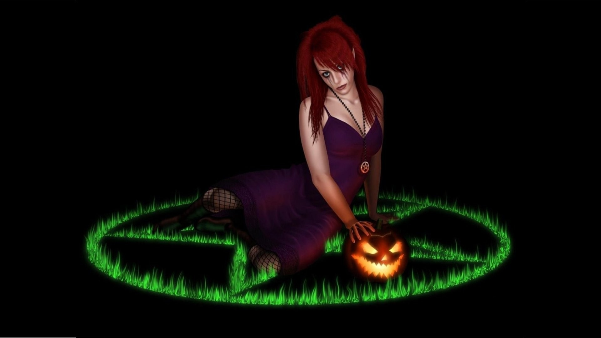 Fantasy – Witch Beautiful Gothic Jack-o'-lantern Pentagram Fantasy Wallpaper