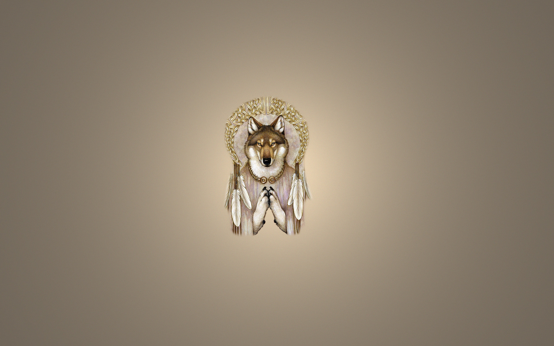 Wallpaper dreamcatcher, dreamcatcher, wolf, wolf, light background .