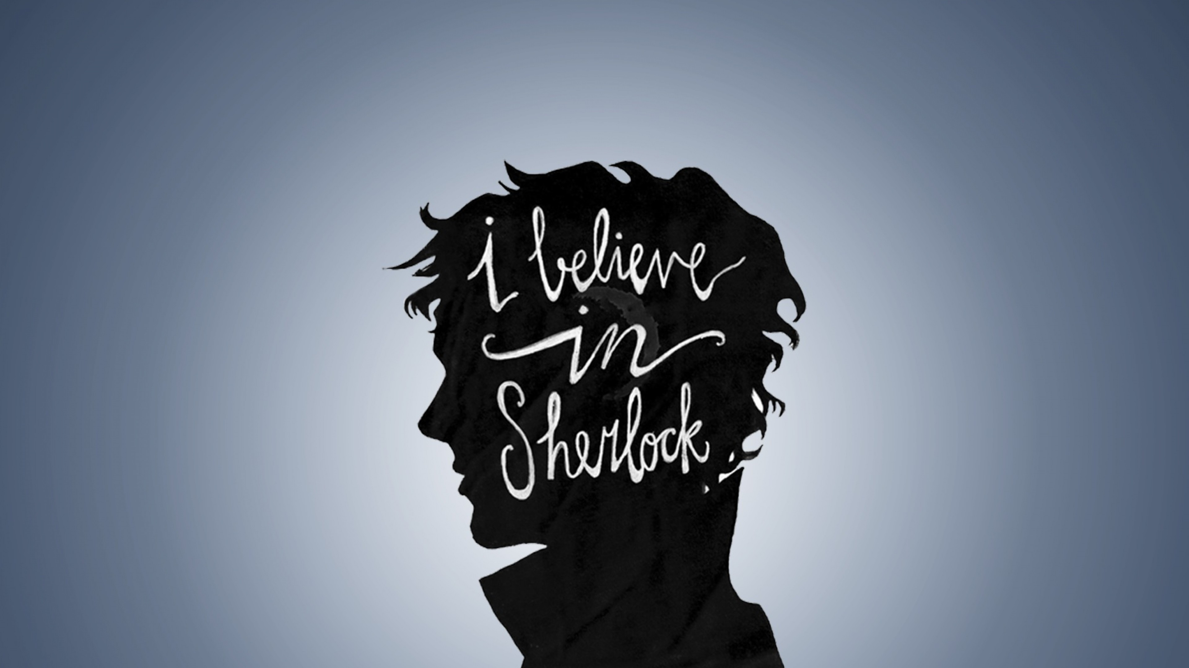 Preview wallpaper sherlock, bbc, believe, profile, minimalism 3840×2160