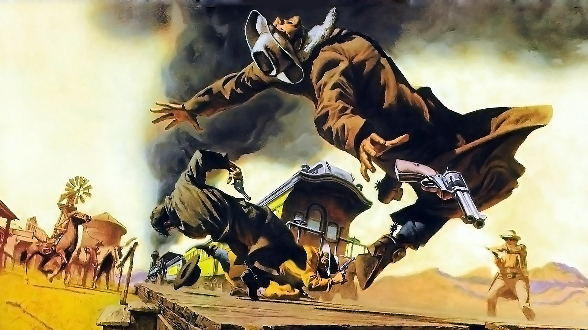 Cowboy Drawing Once Upon a Time in the West wallpaper background
