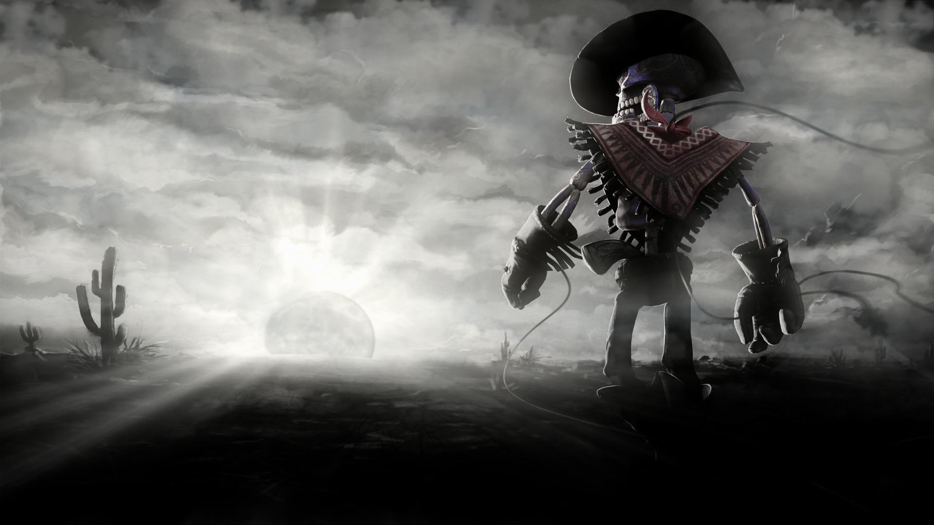 Cowboy-skeleton-sunset-sun-cactus-dark-skull-wallpaper