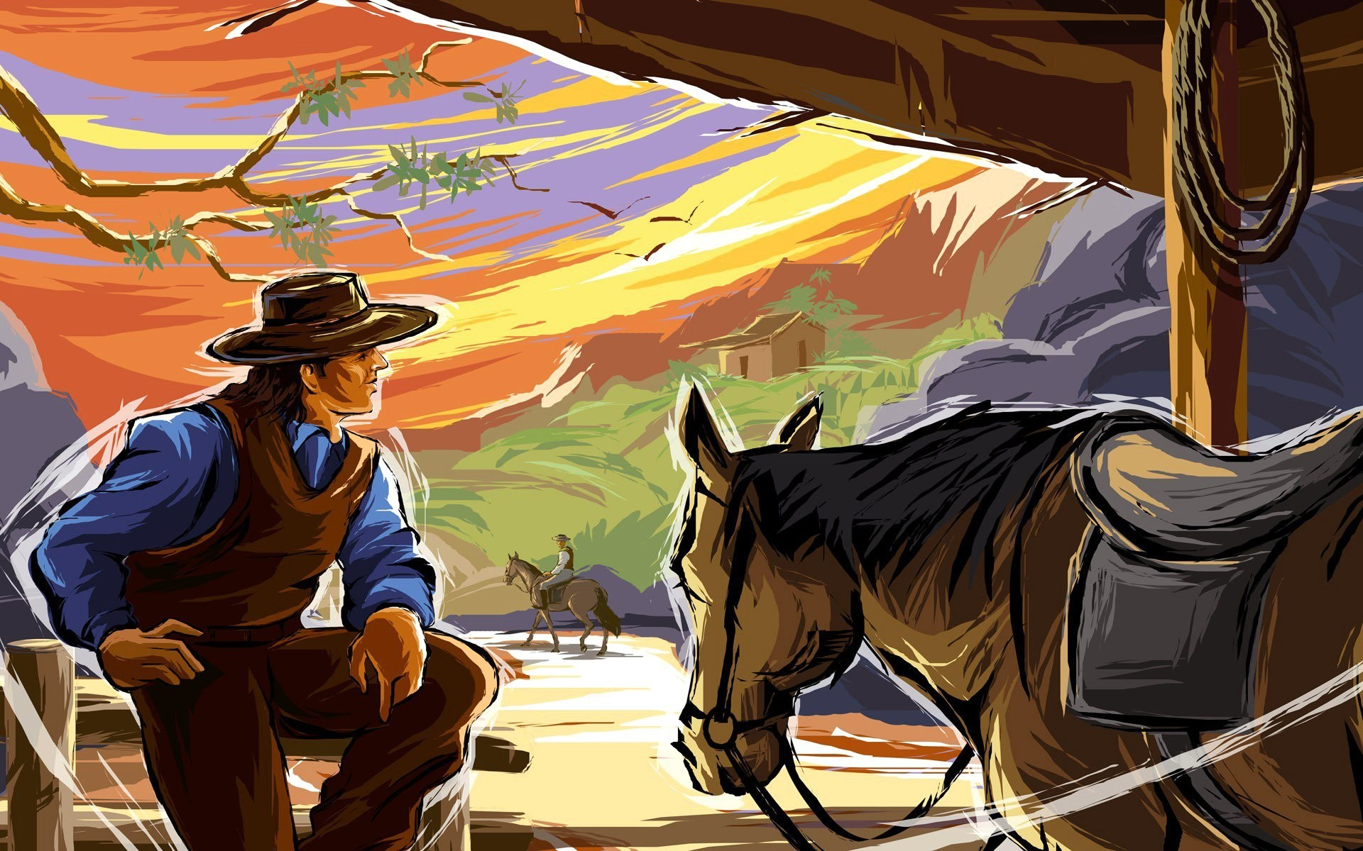 wild west cowboy horse mountain picture vector