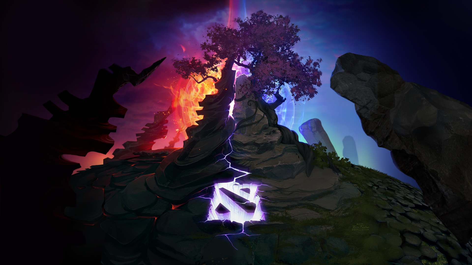 dota 2 epic logo radiant vs diretide game hd wallpaper 1080p