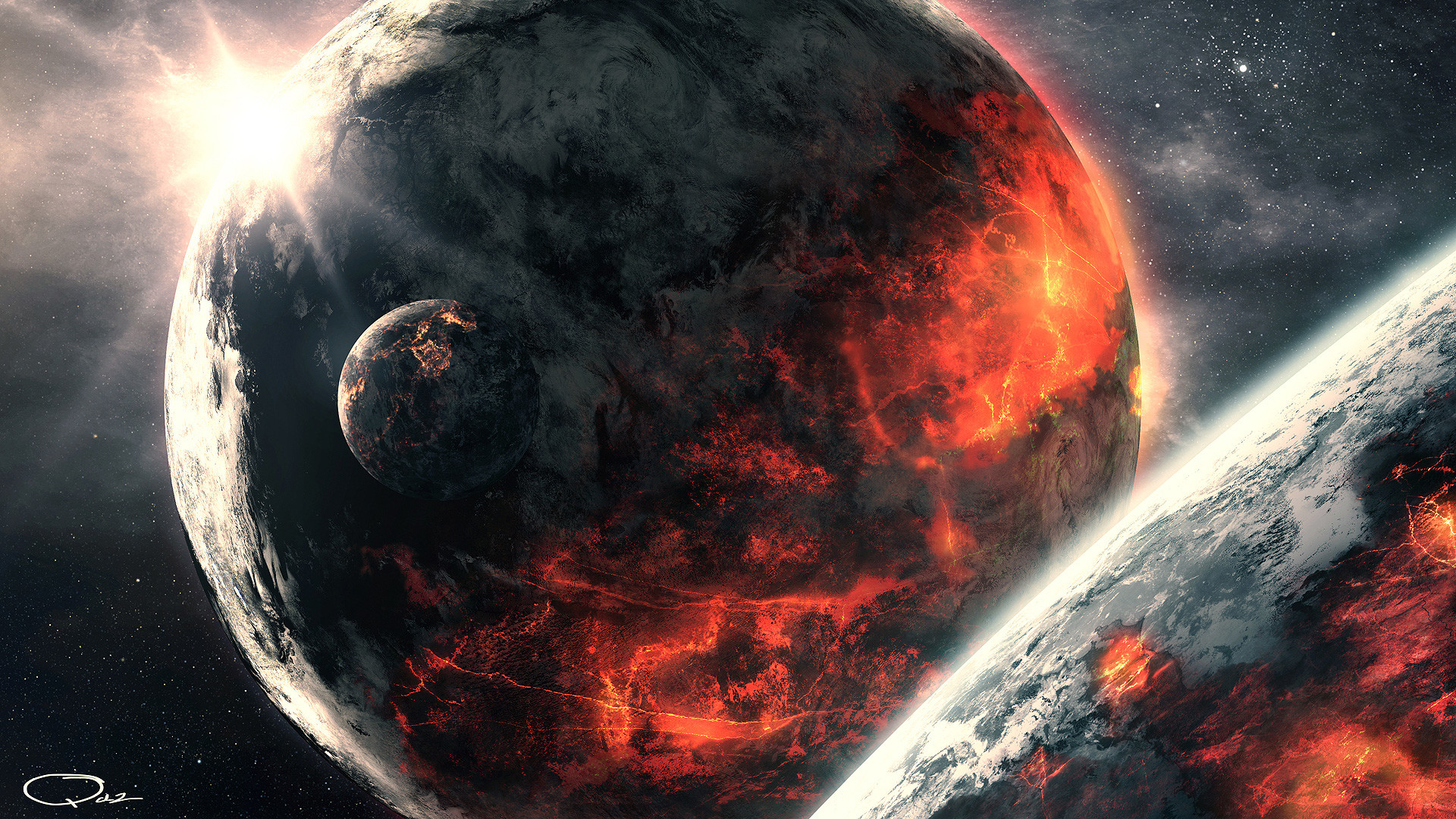 space 1080p wallpaper, full hd volcanic planet in space