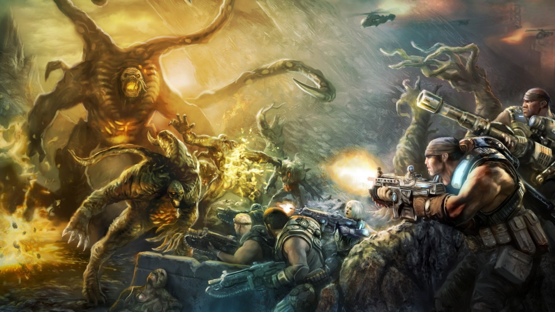Preview wallpaper gears of war judgment, art, video game, epic games  1920×1080