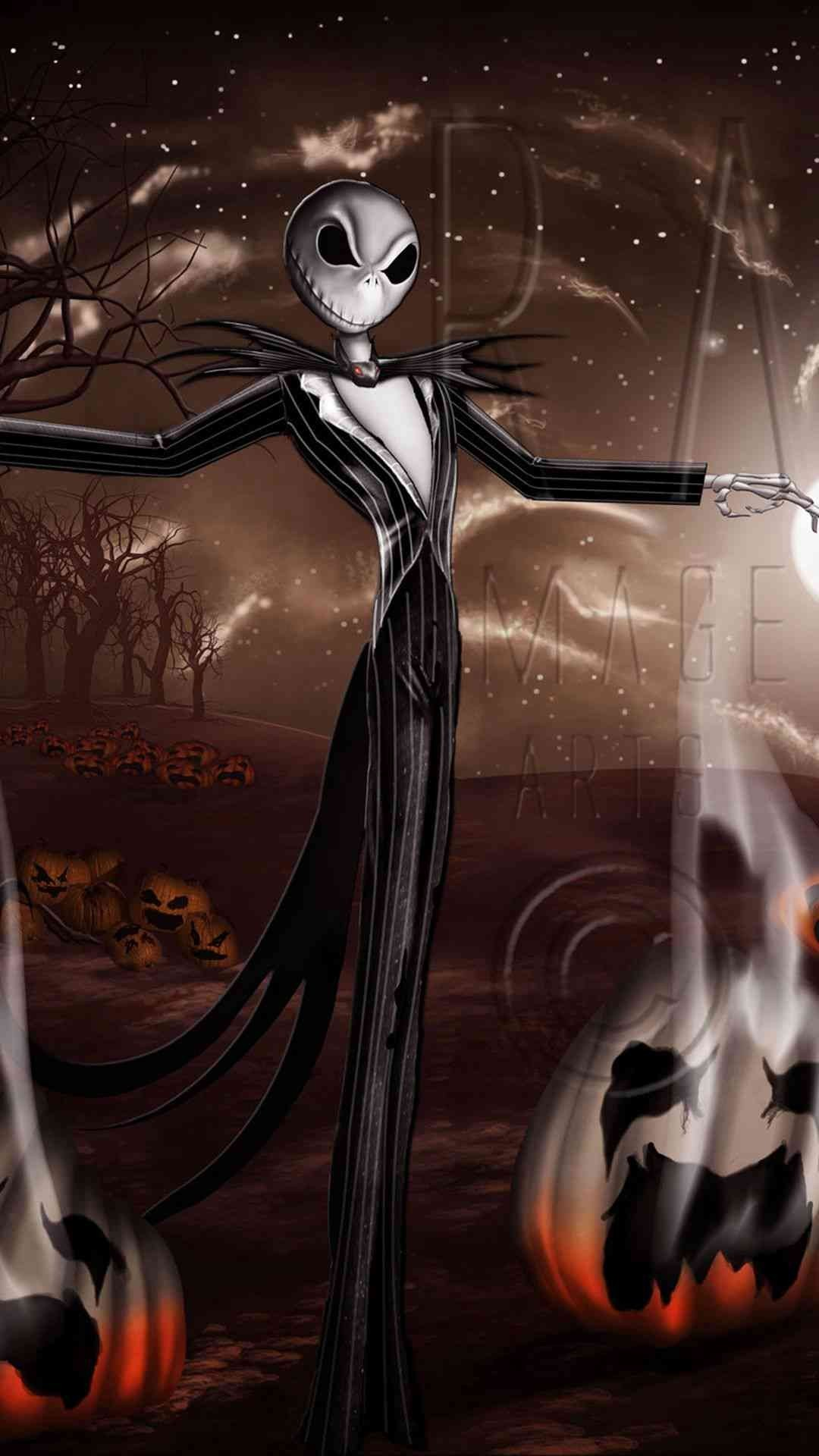 Crazy Jack Skellington Pumpkin 2014 Halloween iPhone 6 plus Wallpapers –  Night Before Christmas, Tim