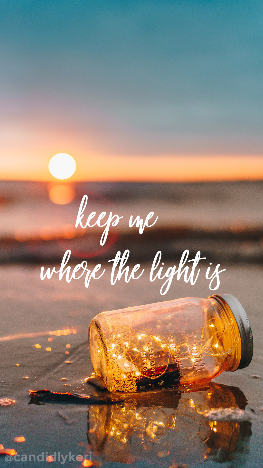 Keep me where the light is quote sunset mason jar wallpaper you can  download for free