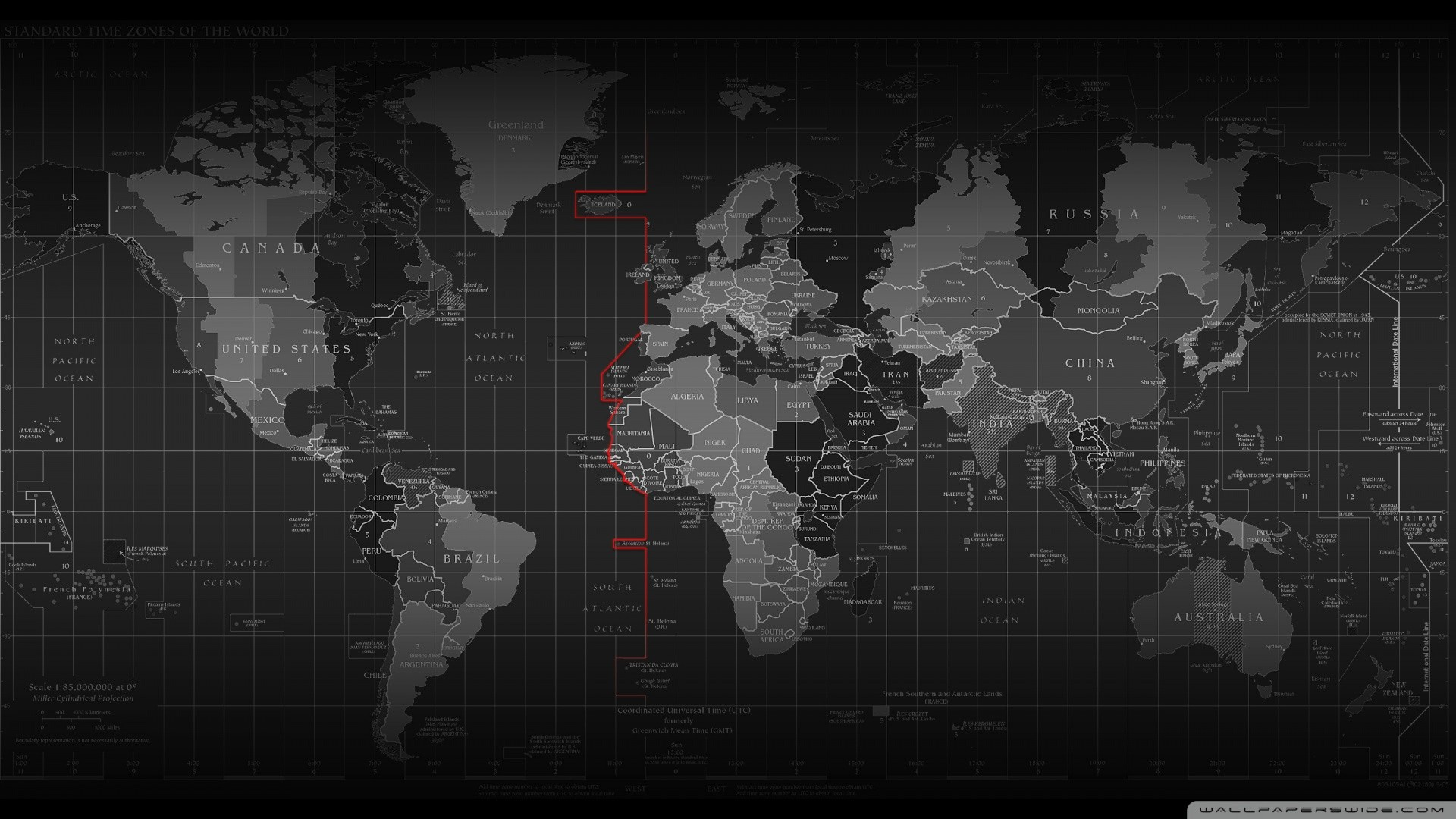 black and white cartography continents maps time zones wallpaper HD
