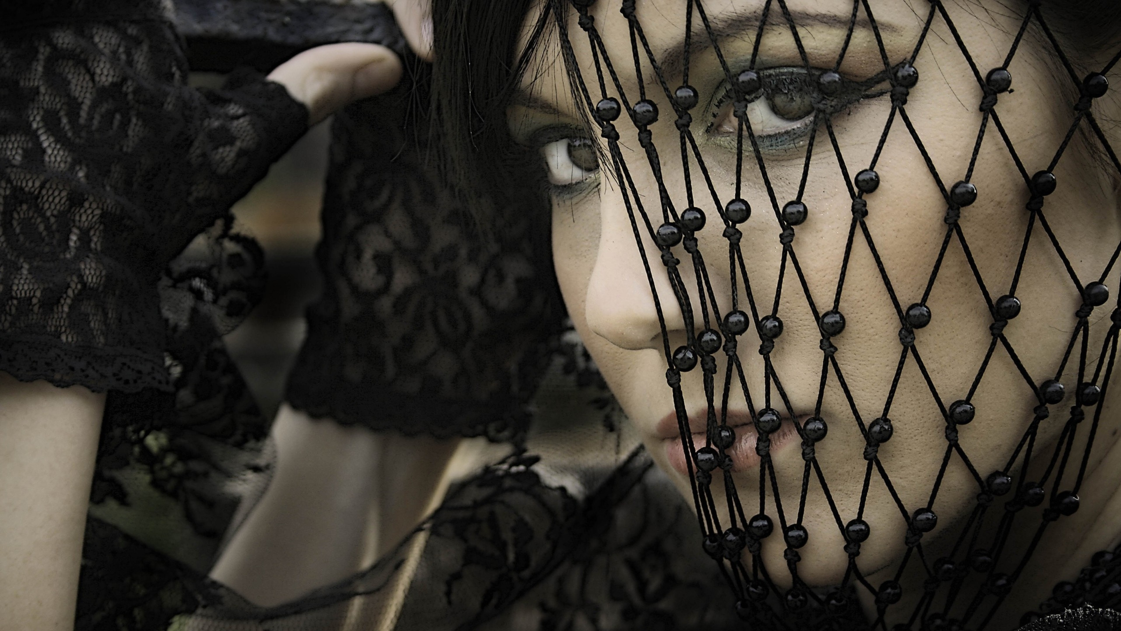 Preview wallpaper girl, gothic, mesh gloves, look, mystery 3840×2160