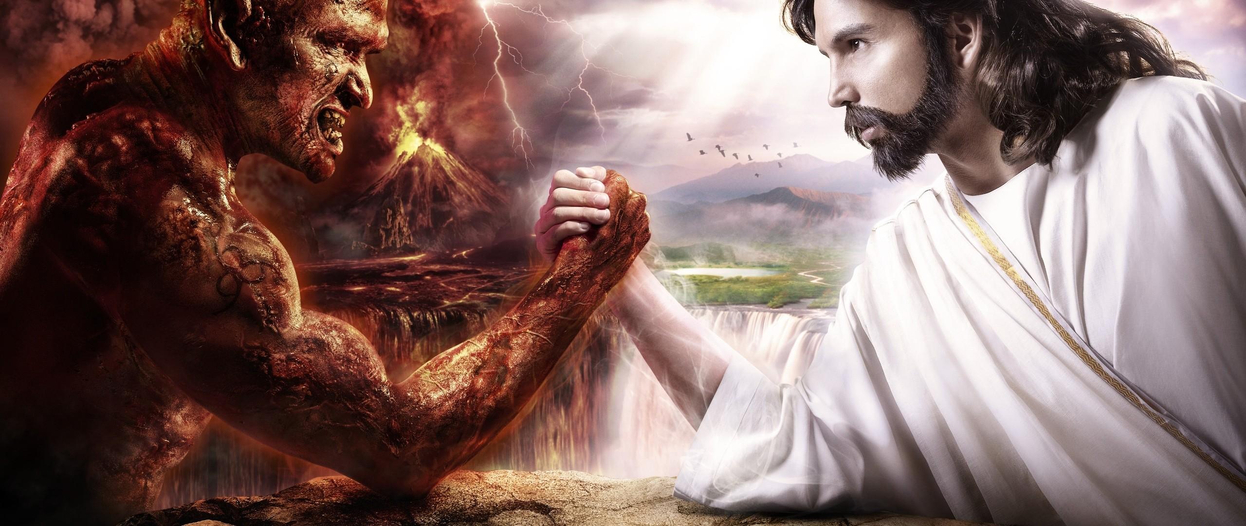 Preview wallpaper god, devil, struggle, good, harm 2560×1080