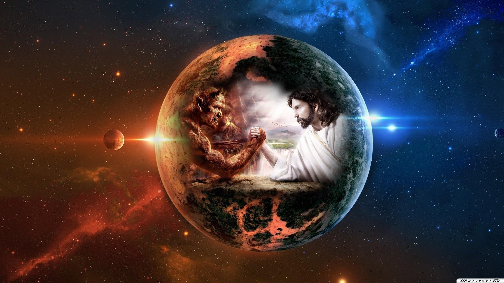 Desktop Hintergrundbilder – God vs Devil Hintergrundbild