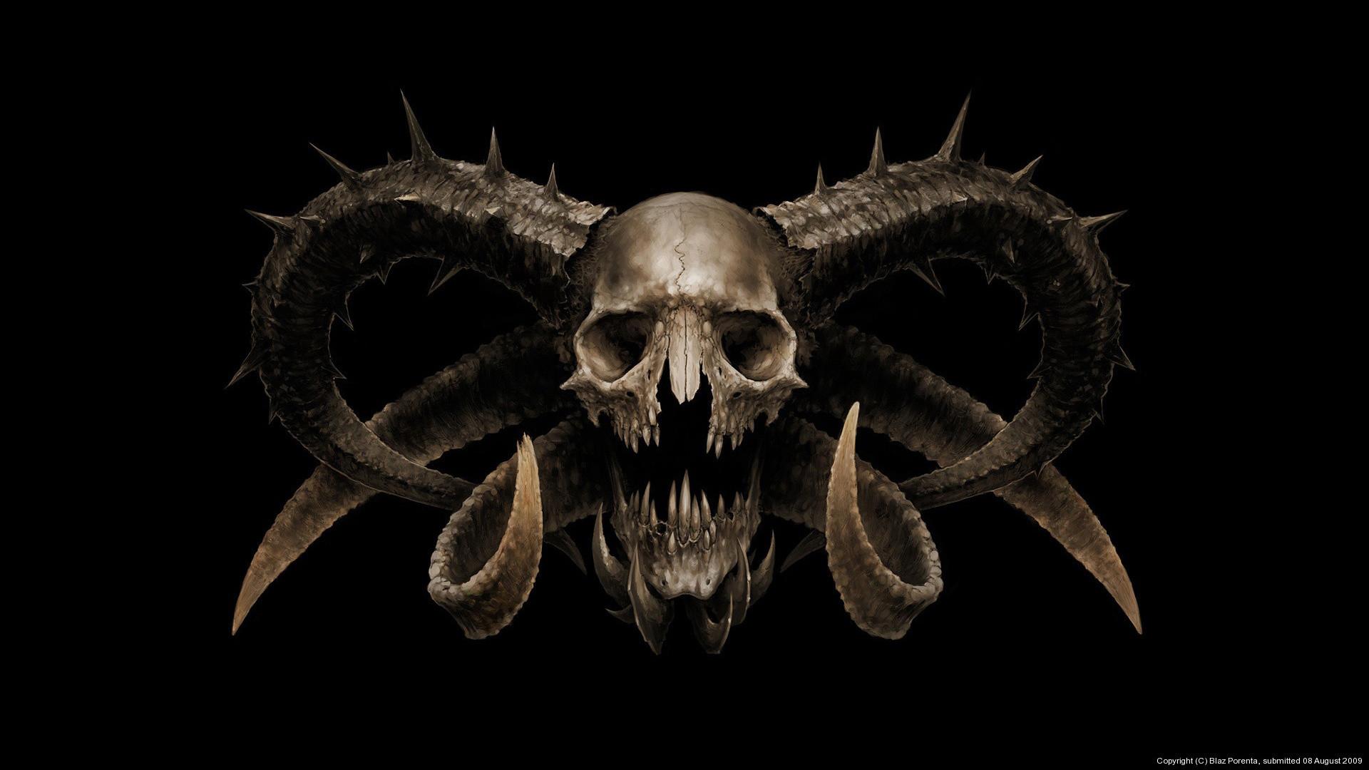 dark horror demon satan occult skull wallpaper