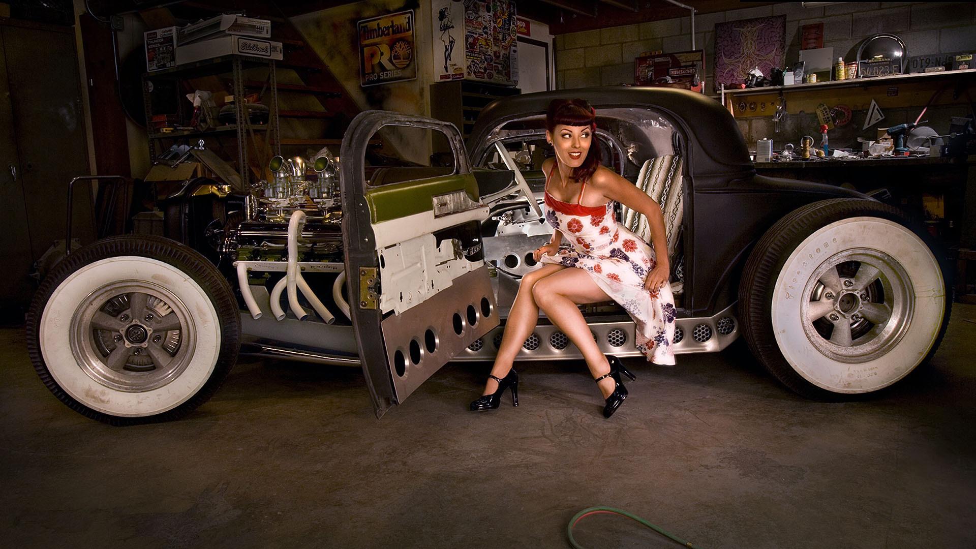 Hot Rod Pin Up Wallpaper | Pin-up girl in Hot Rod HD Wallpaper 1920×1080