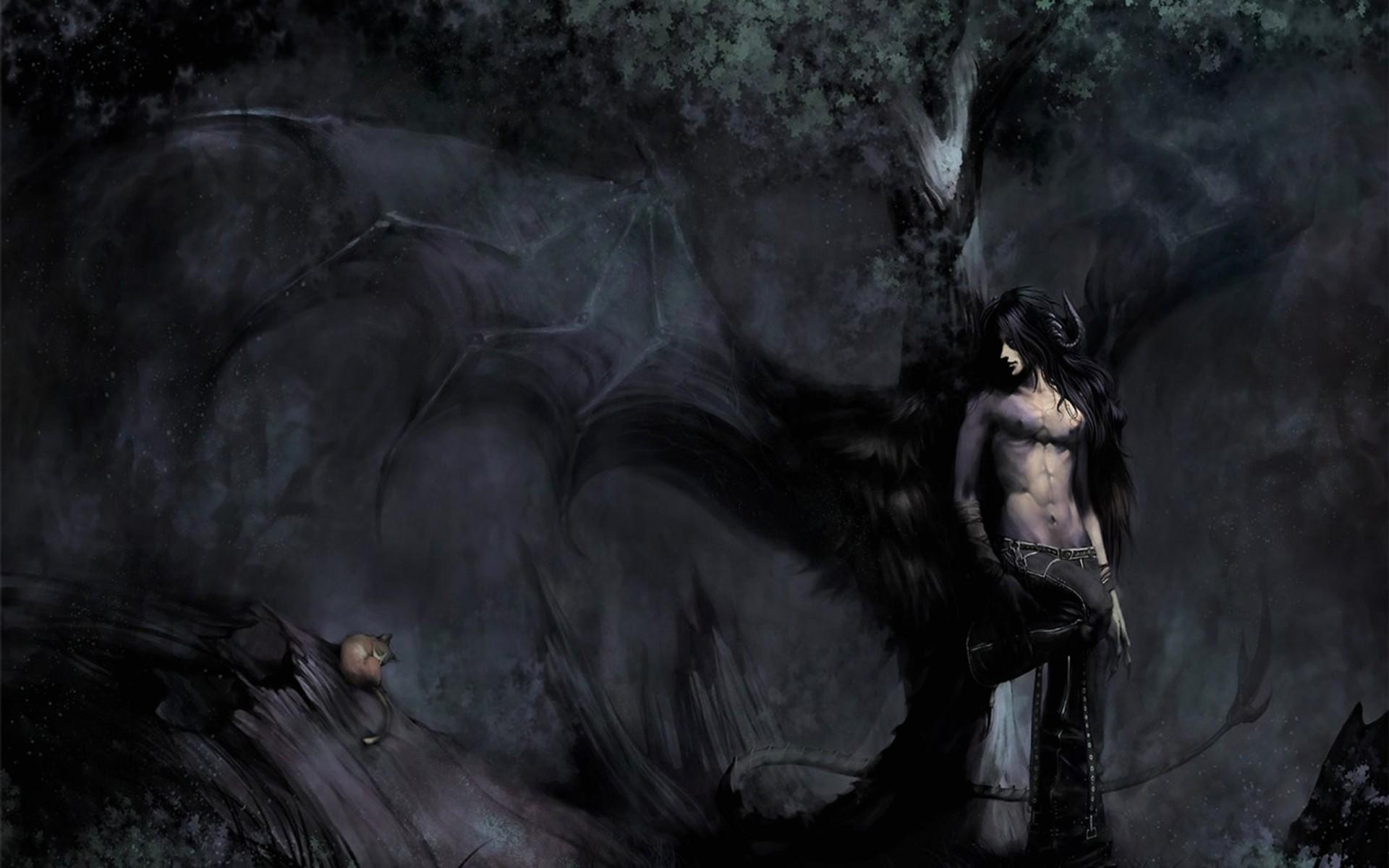 Dark Fantasy Art Fallen Angels | dark fantasy fallen angel demon creature  monster trees forest nature