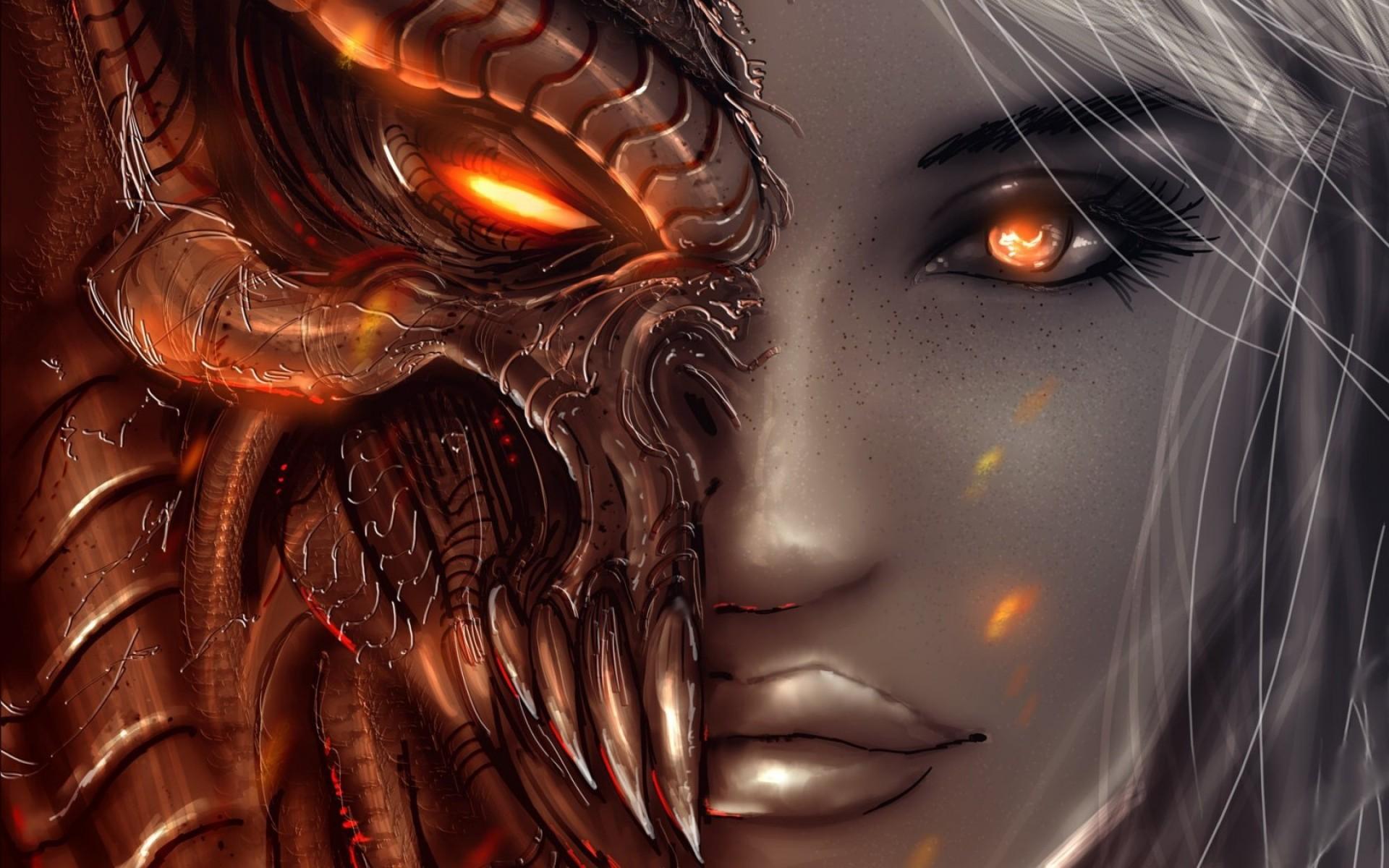 Wallpaper diablo 3, art, girl, angel, demon, face, eyes