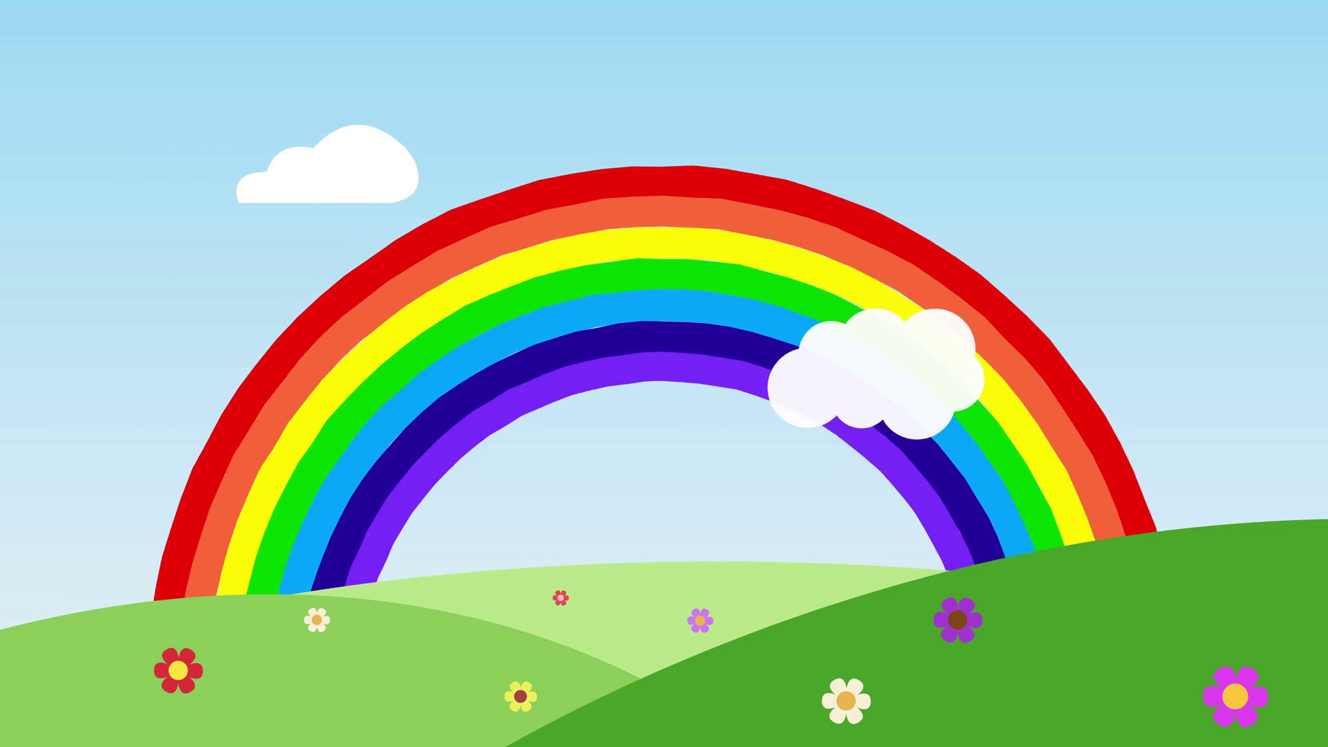 … rainbow with some clouds over the flowers hills with space for your  text or logo. nature and rainbow seamless loop. Rainbow Background for  children full …