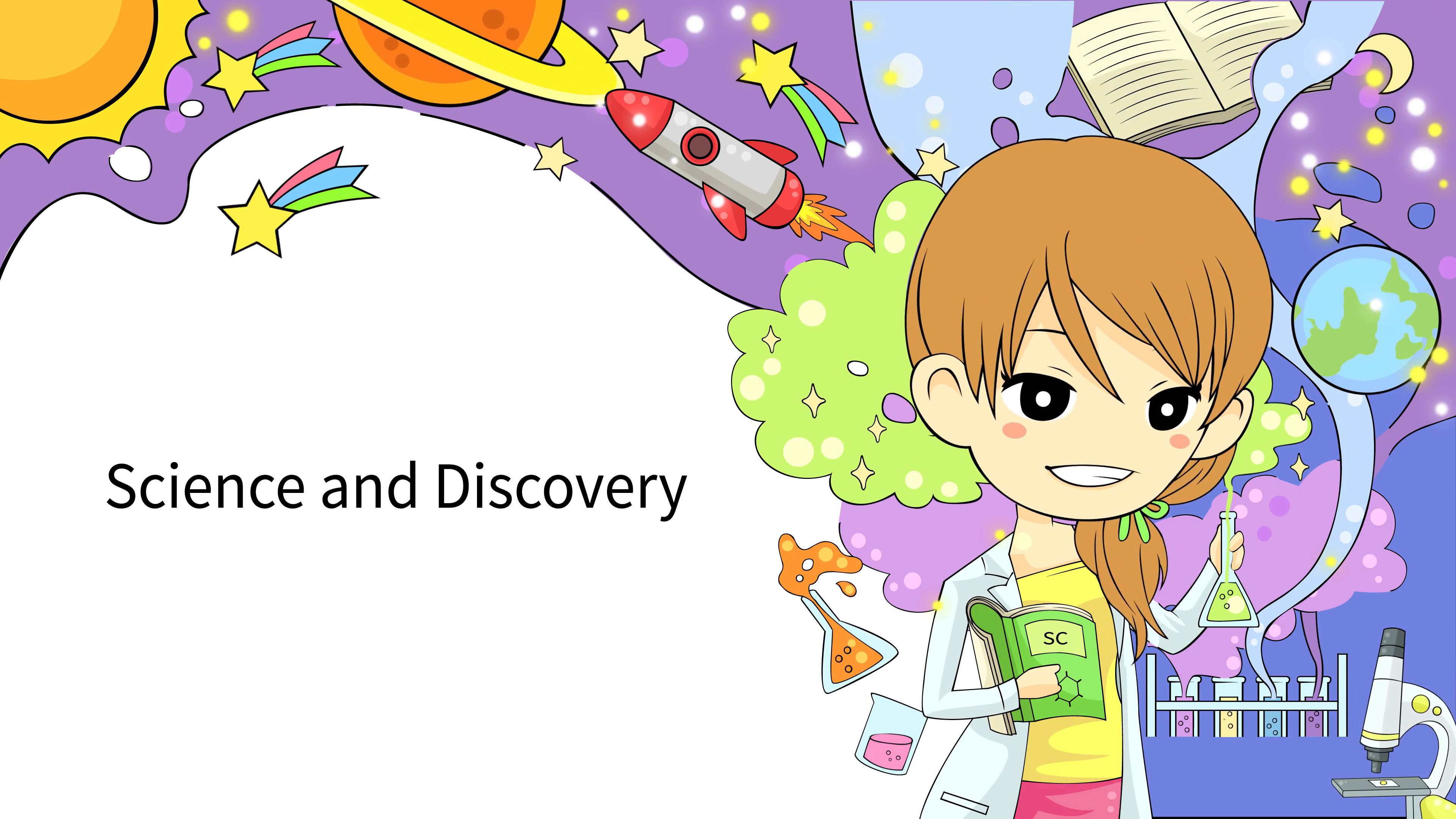 Subscription Library Cartoon animation background template of woman  scientist experimenting in laboratory with abstract and science icon tool