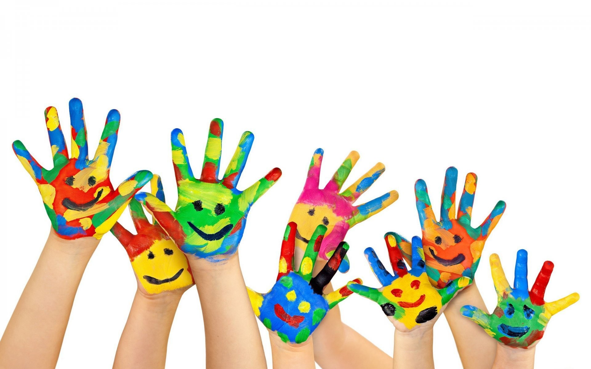 white background hands palm fingers paint flowers smile children childhood