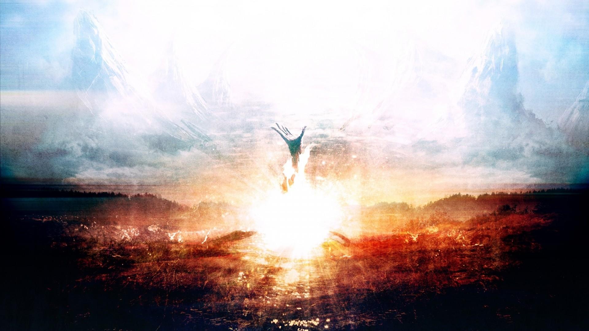 Preview wallpaper explosion, hand, death, heaven, paint 1920×1080