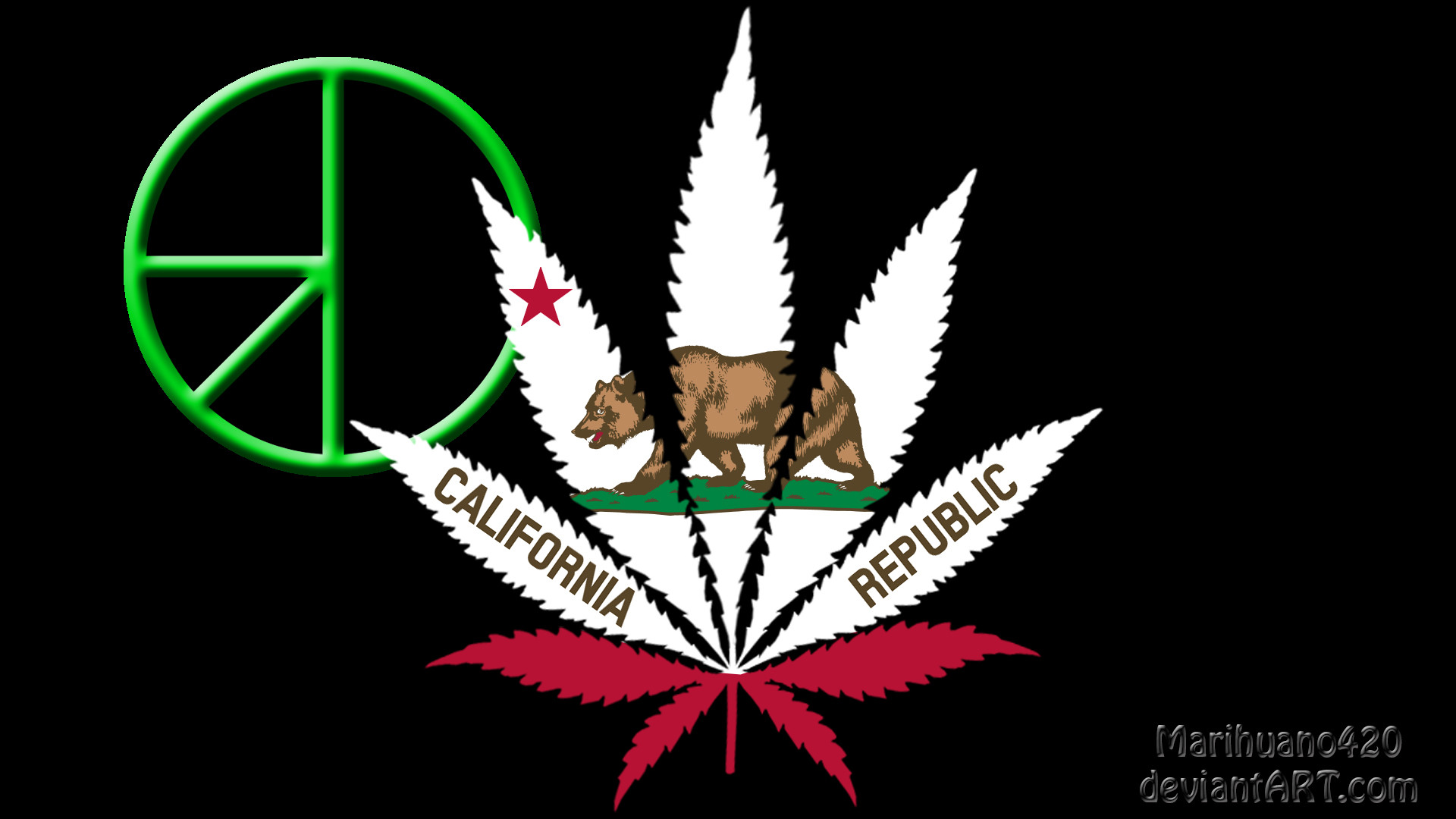 … California Flag with 420 symbol by Marihuano420