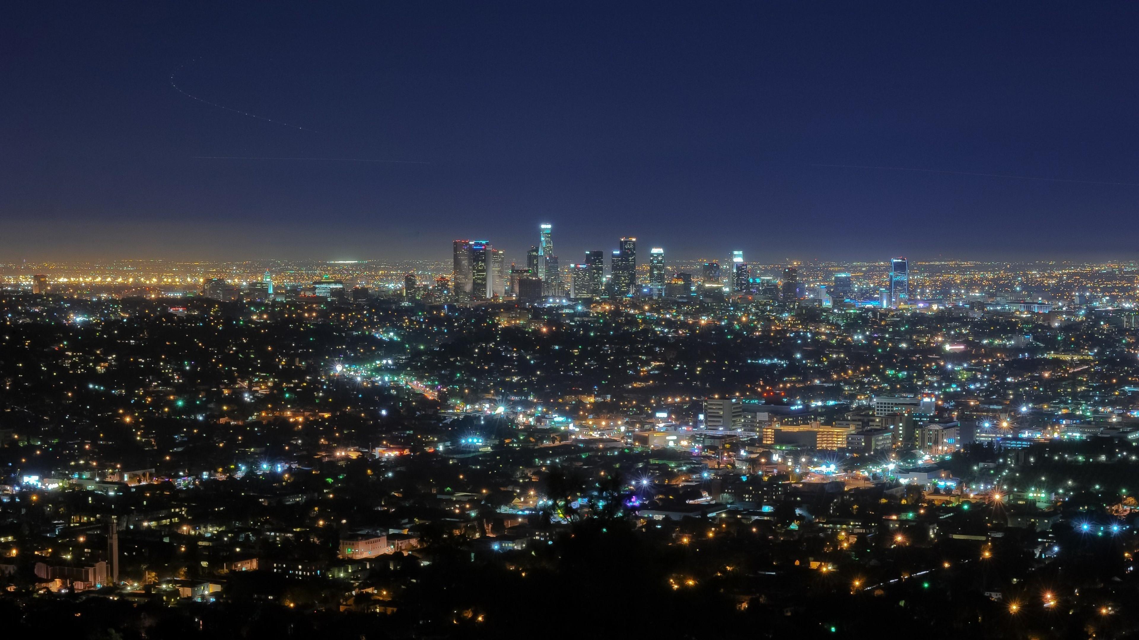 Preview wallpaper california, night, lights 3840×2160