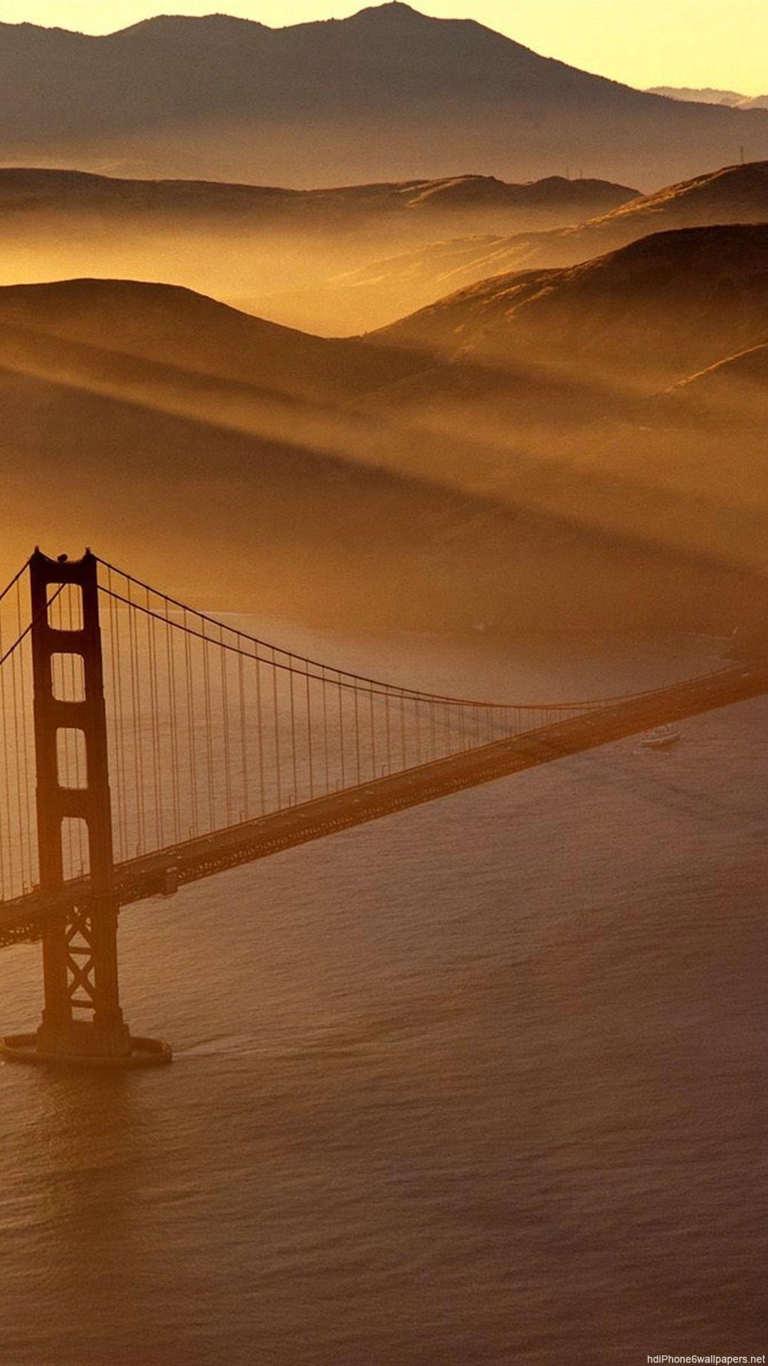 bridge gold nature san francisco iPhone 6 wallpapers HD – 6 Plus  backgrounds