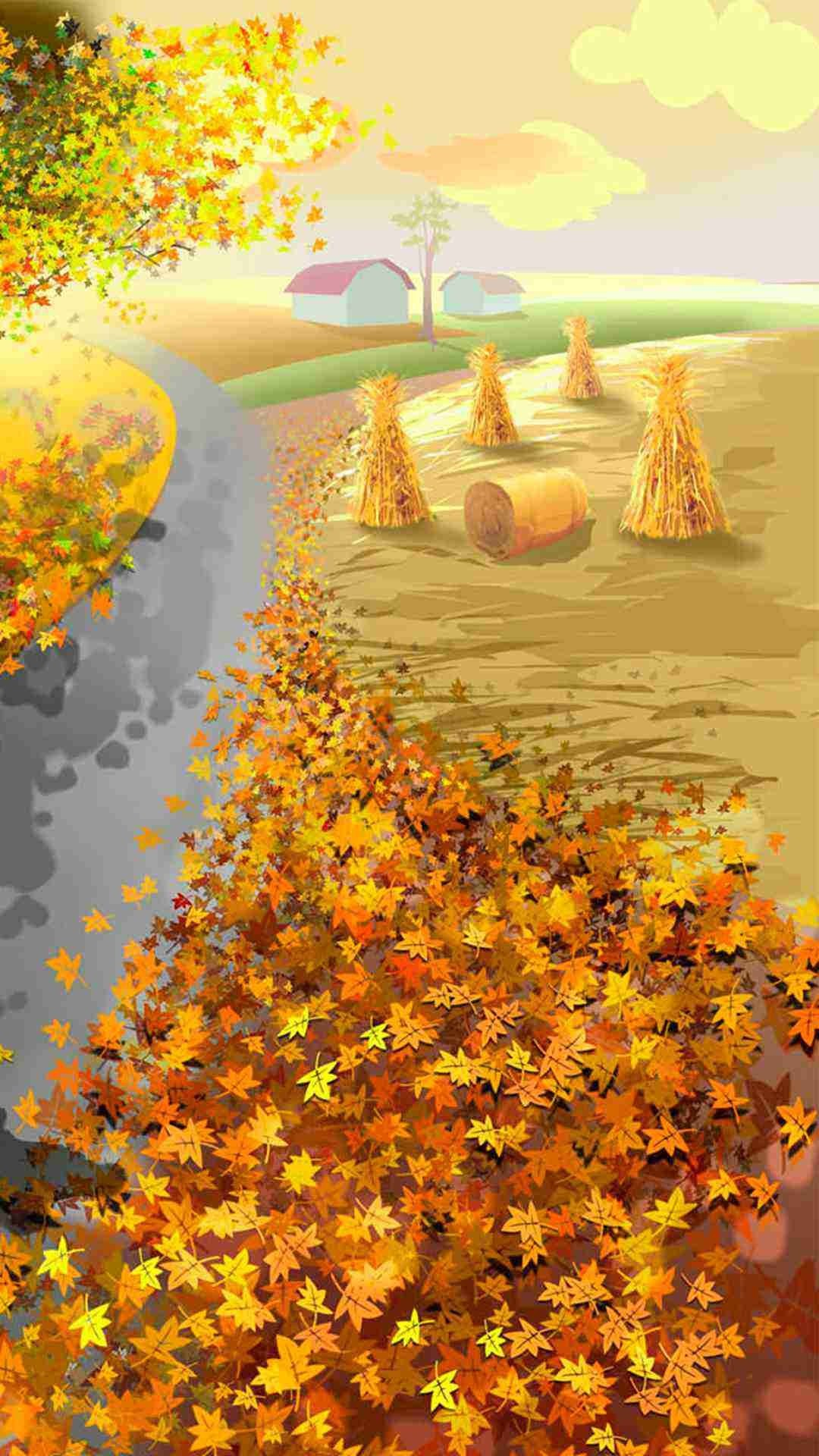 Gold Fall Leaf 2015 Thanksgiving iPhone 6 Plus Wallpaper – Nature, House,  Road