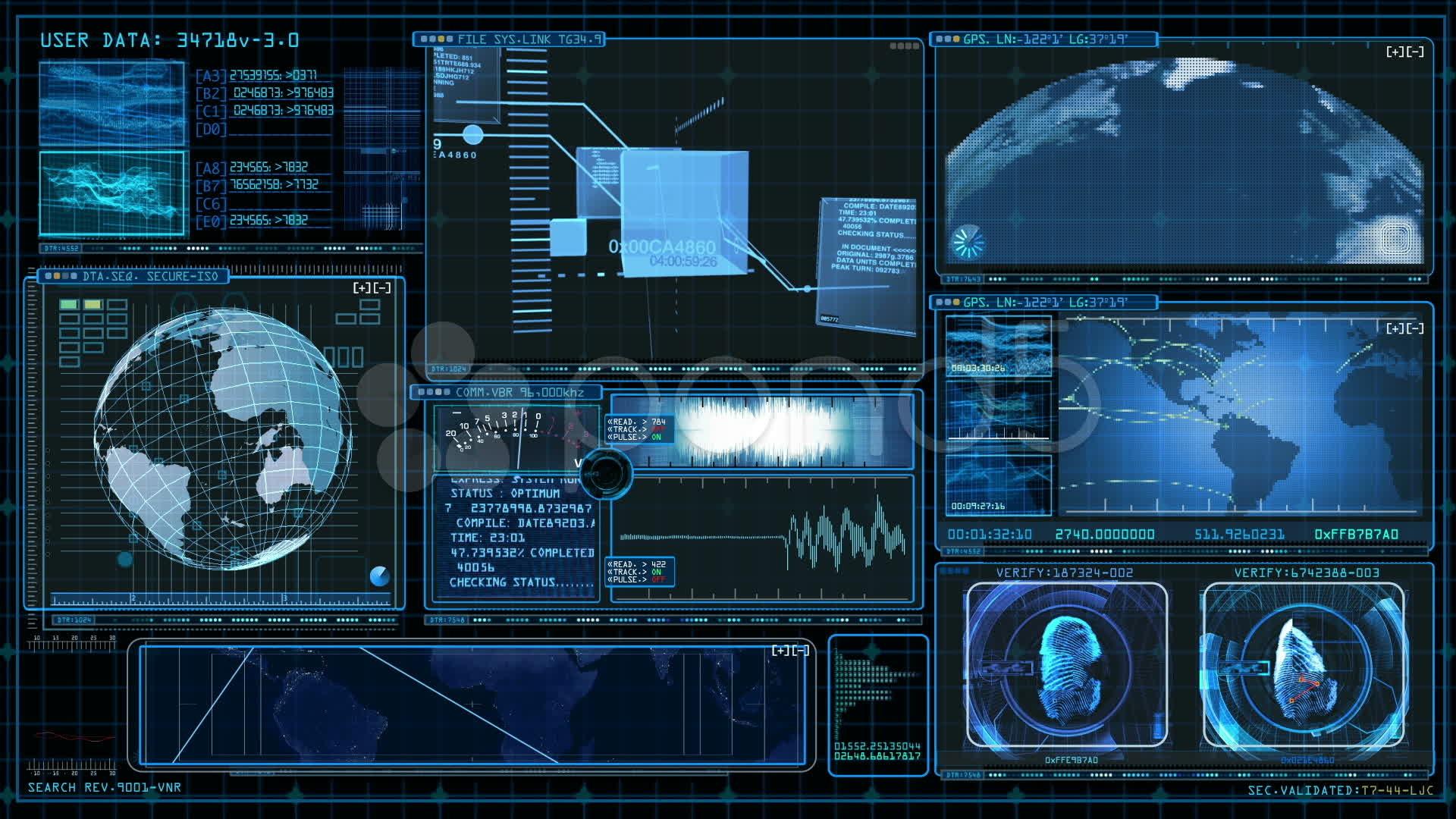 Technology Interface Computer Data Screen Gui Stock Video 11432130 .