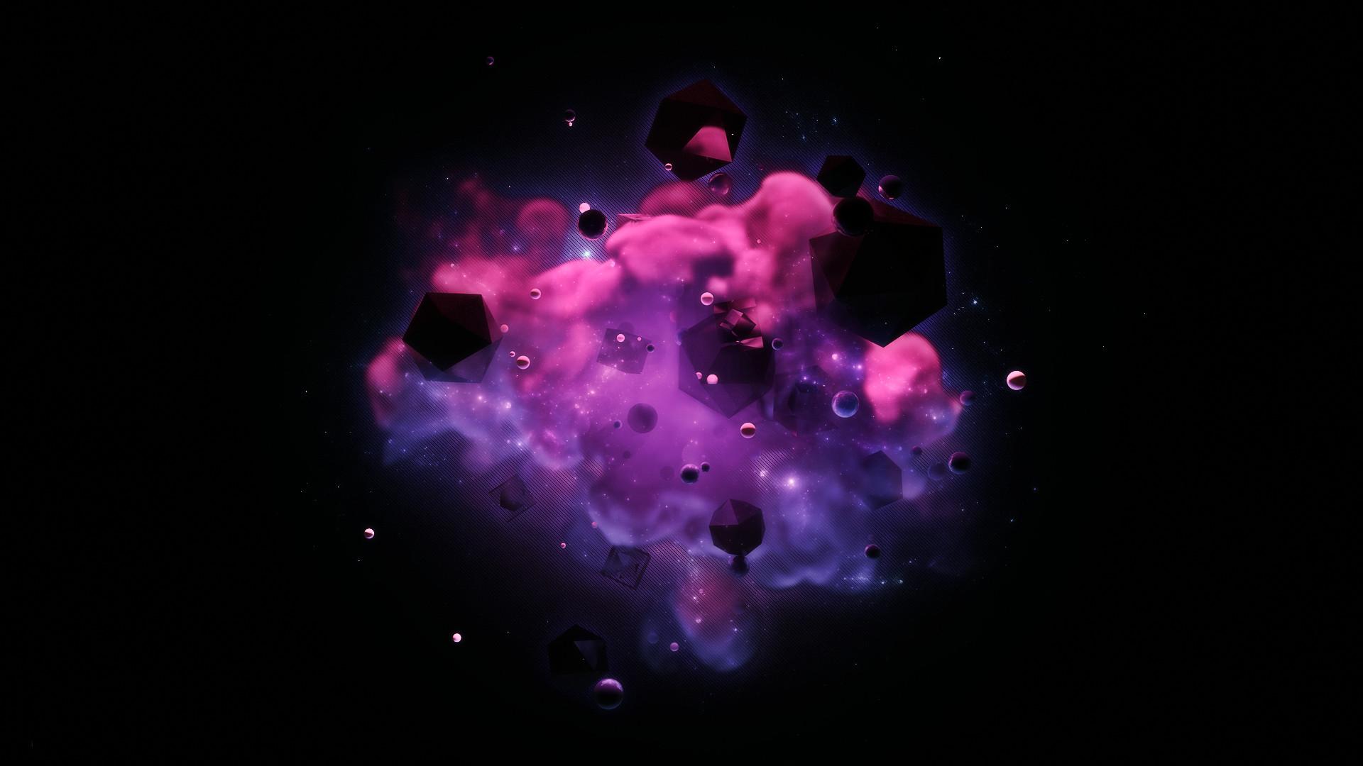 purple polygon in smoke 3d hd wallpaper – HD Background