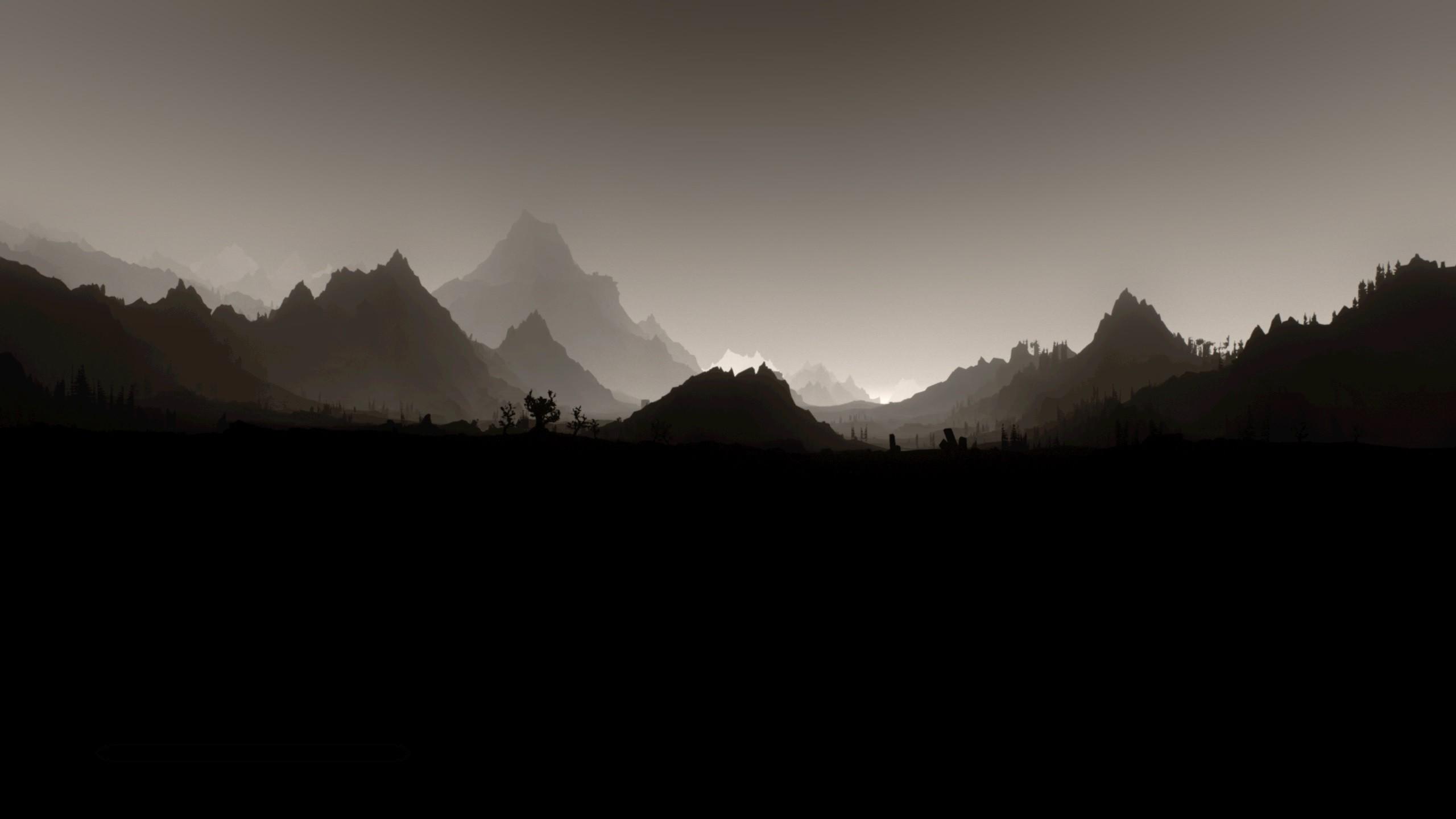 The Elder Scrolls V: Skyrim, Landscape, Monochrome, Minimalism Wallpapers  HD / Desktop and Mobile Backgrounds