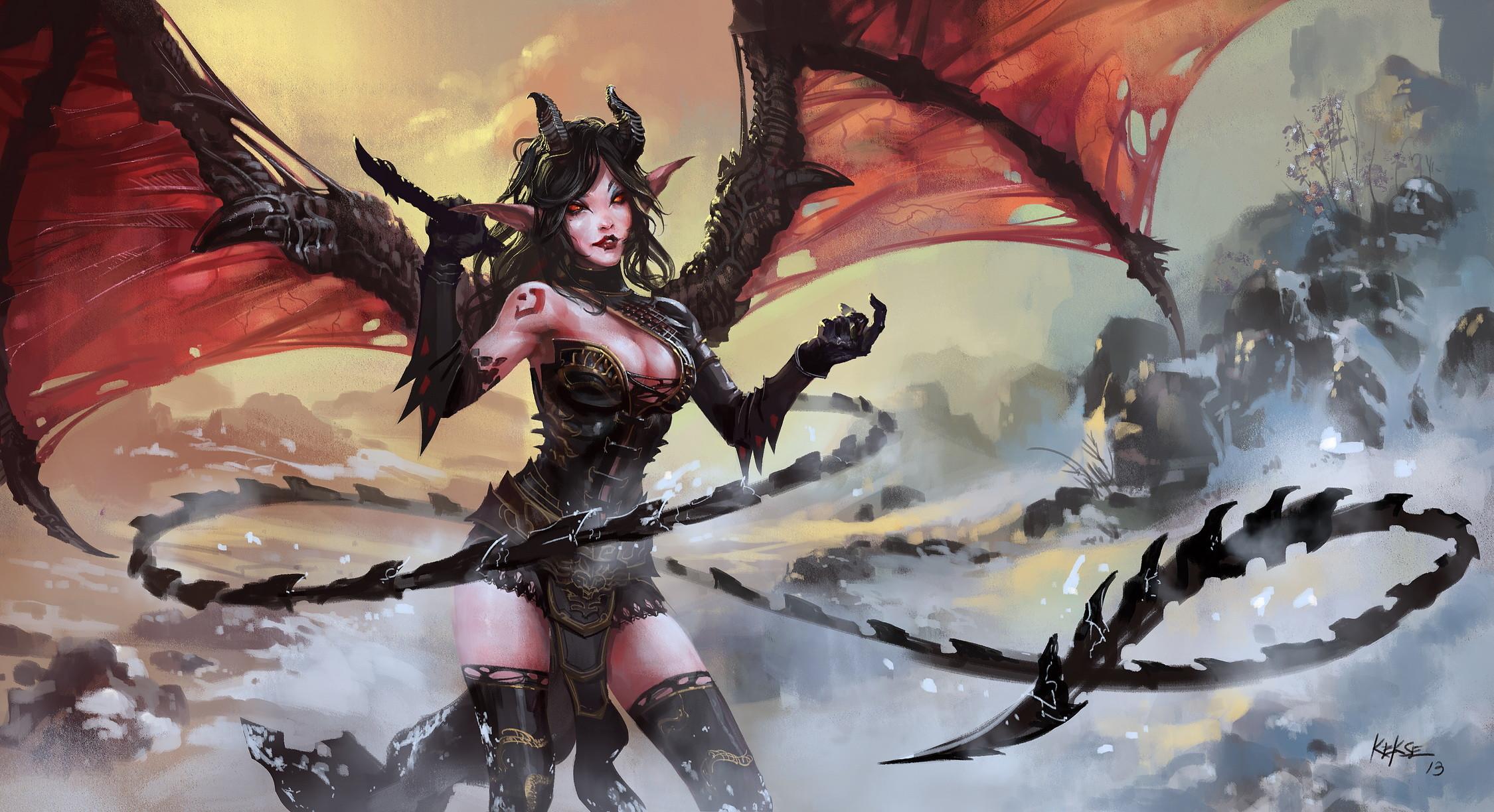 Fantasy Demon Monster Horror Wallpaper Female Demon Wallpaper Hd