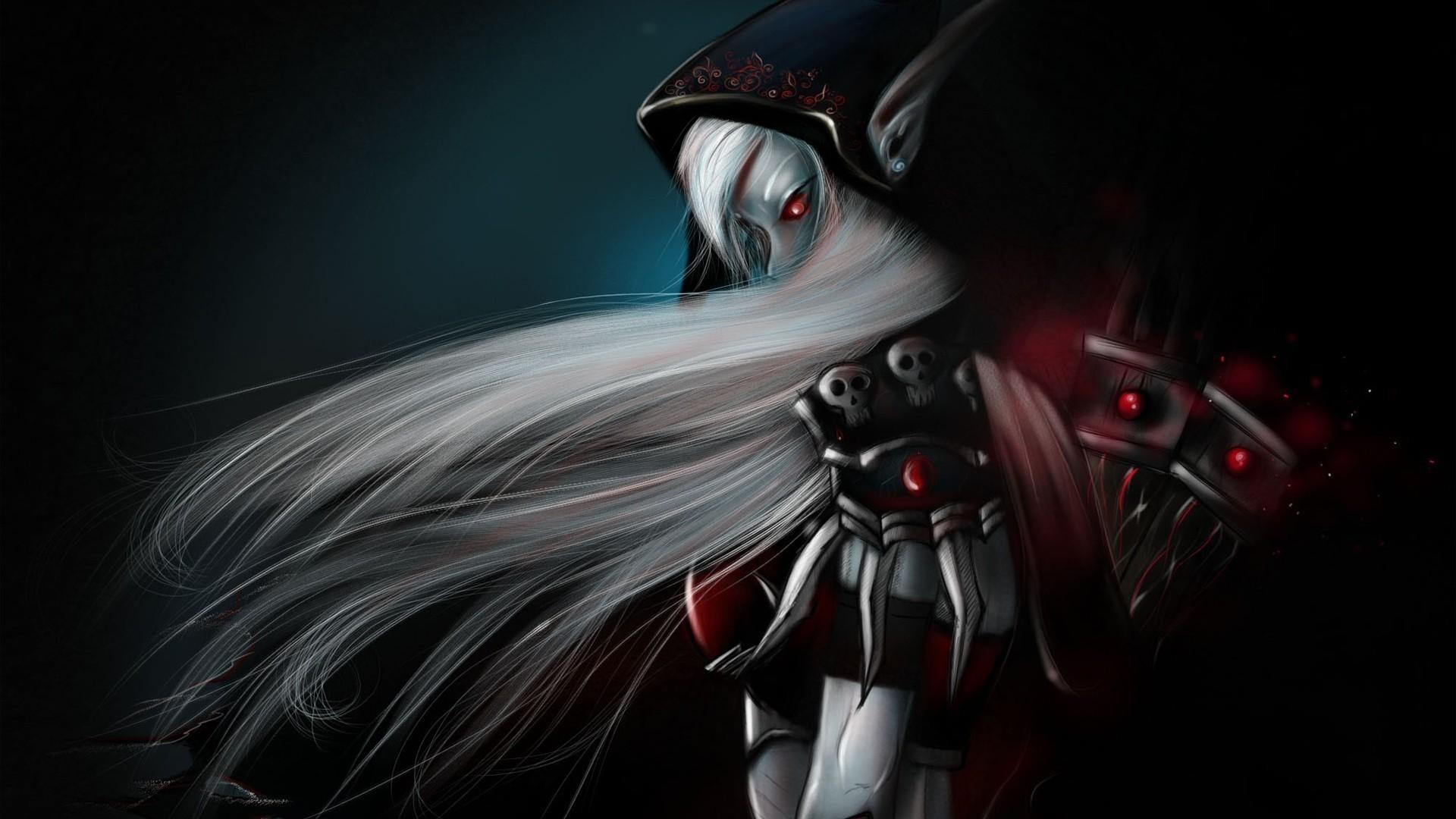 Preview wallpaper girl, elfeyka, demon, hand, hair 1920×1080