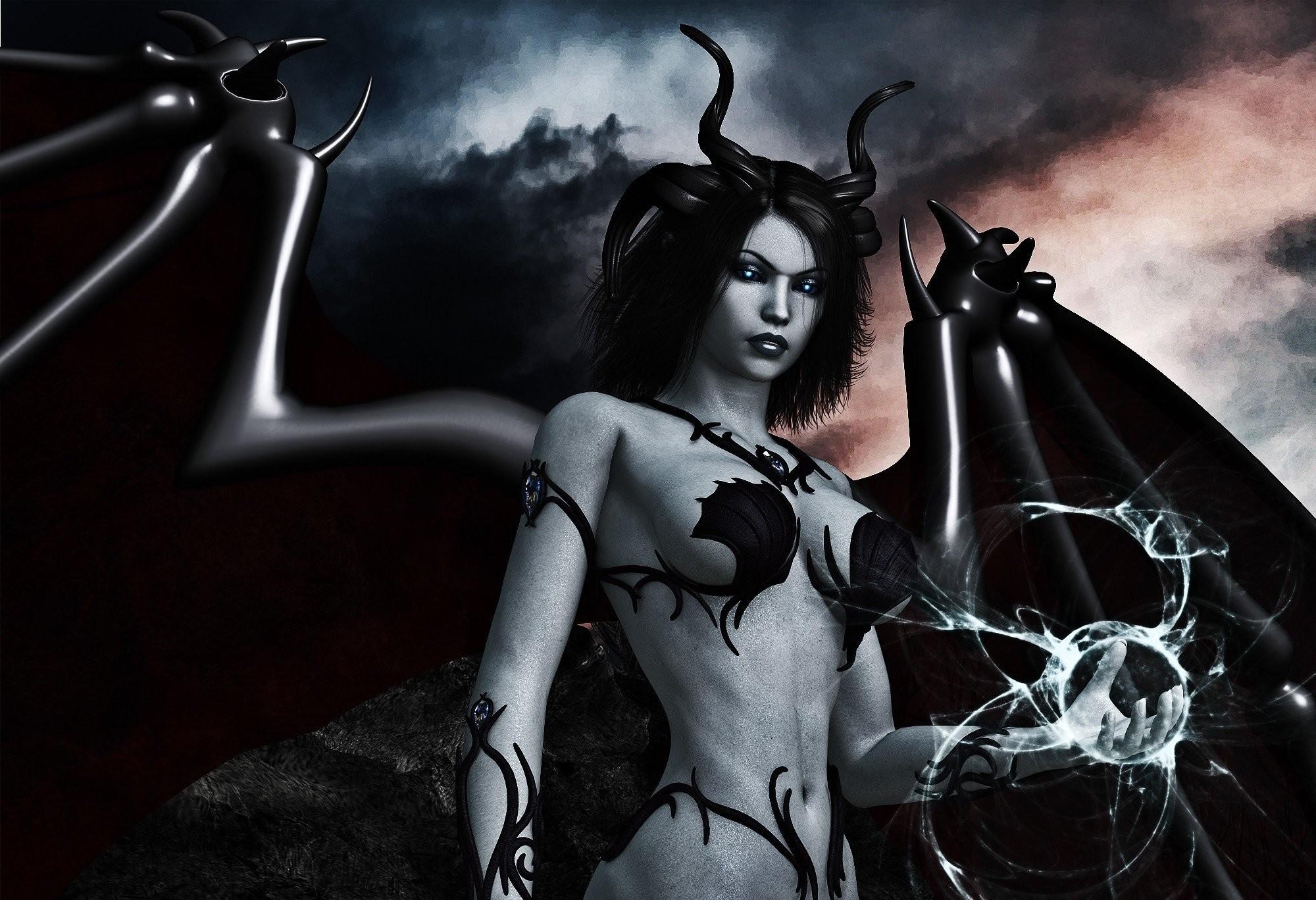 Arts Dark Wings Horns Magic Demon Girls Black Wallpaper At Dark Wallpapers
