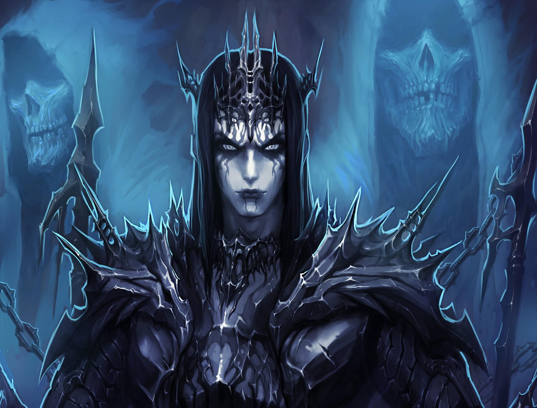 Fantasy Demon Fantasy Man Armor Blue Dark Spikes Skull Evil Wallpaper