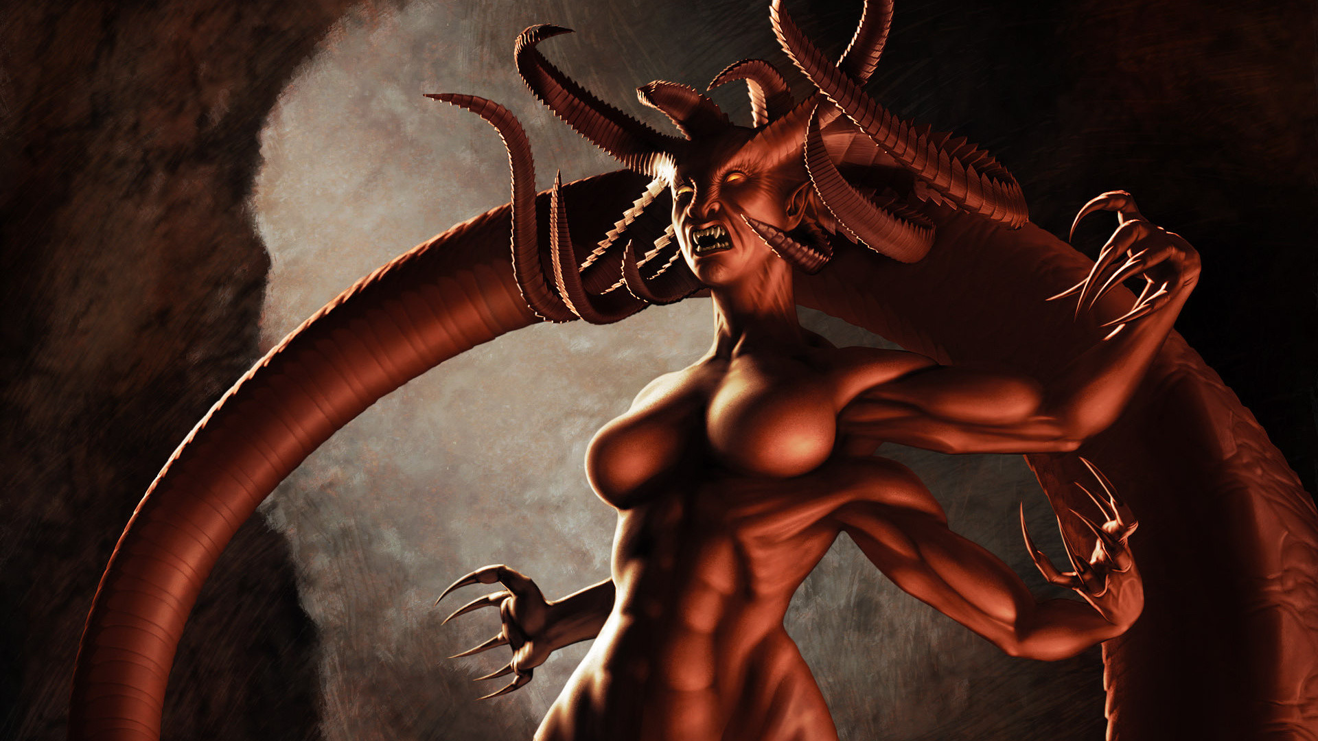 Claws, Cg Wallpapers, Kyoso No Oni, Horns, The Demon .
