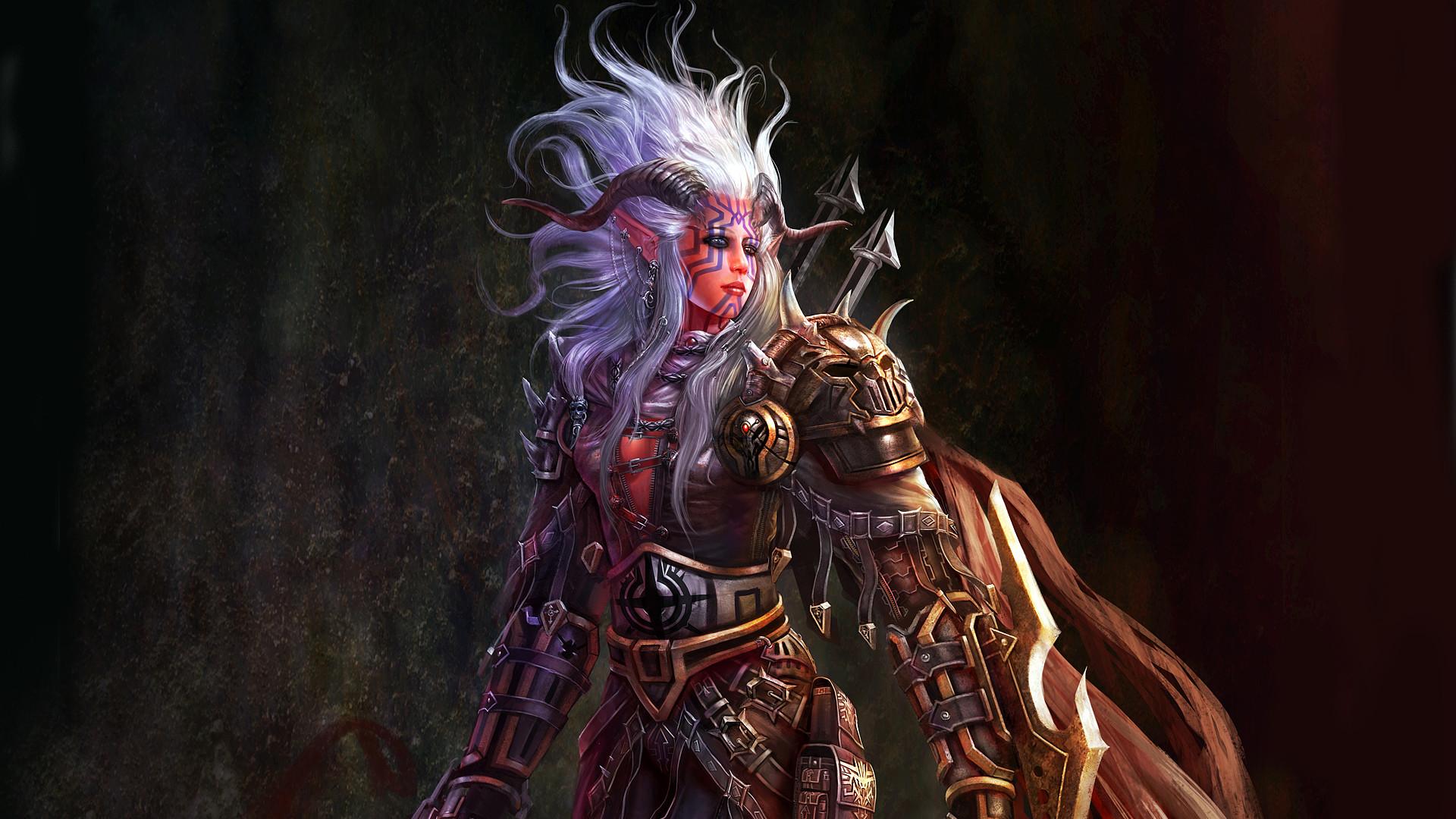 Women paintings assassin horns fantasy art artwork drawings white hair demon  warrior girl women females wallpaper | | 44259 | WallpaperUP