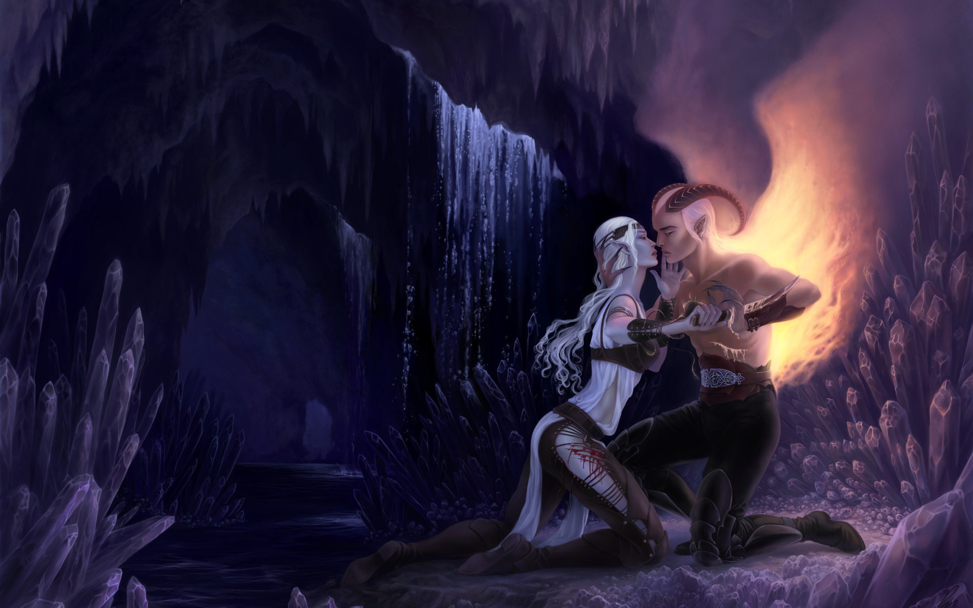 fantasy demon hell caves landscapes waterfall crystal love romance emotion  good evil fire flames mountains cliff