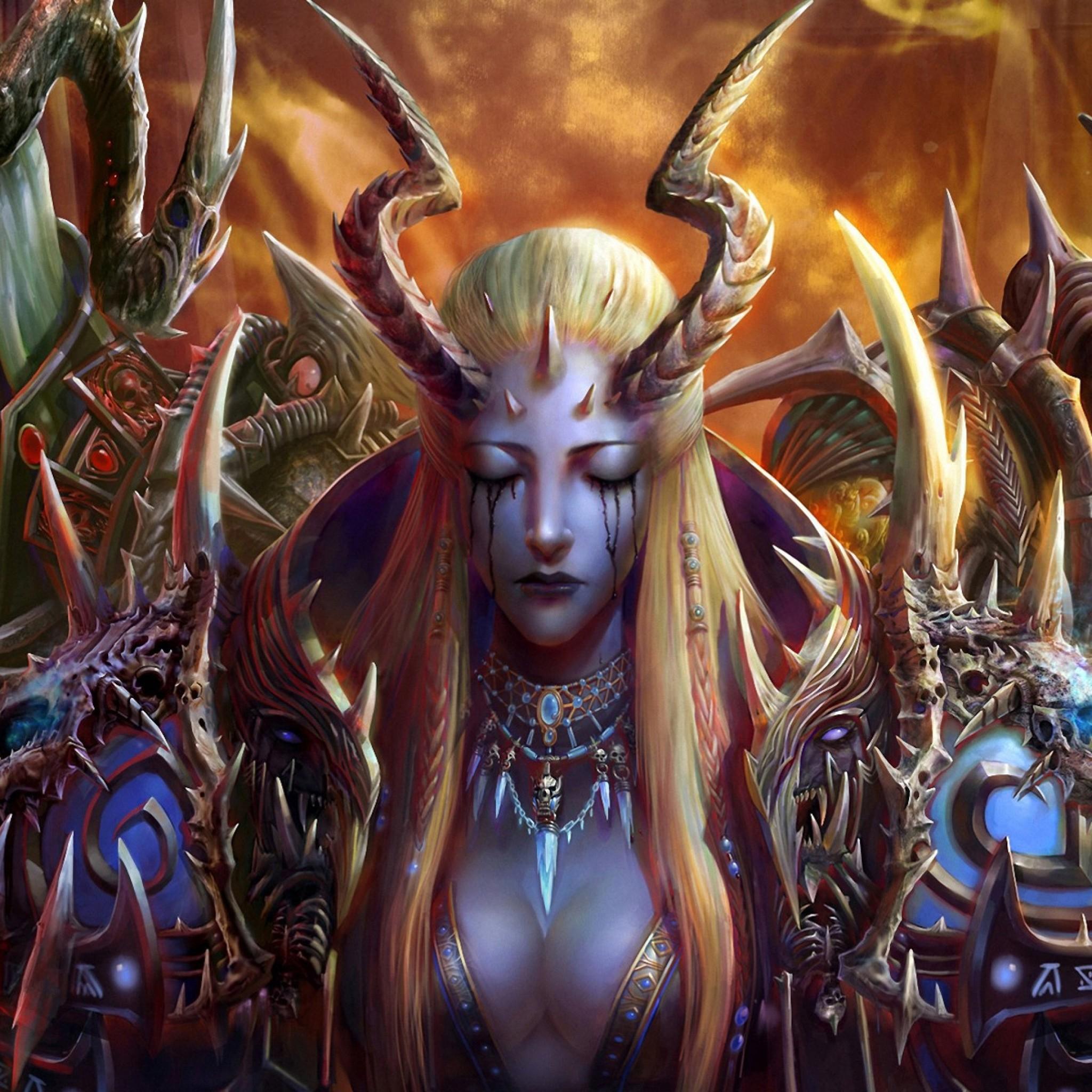 Preview wallpaper girl, demon, creatures, horns, spikes 2048×2048