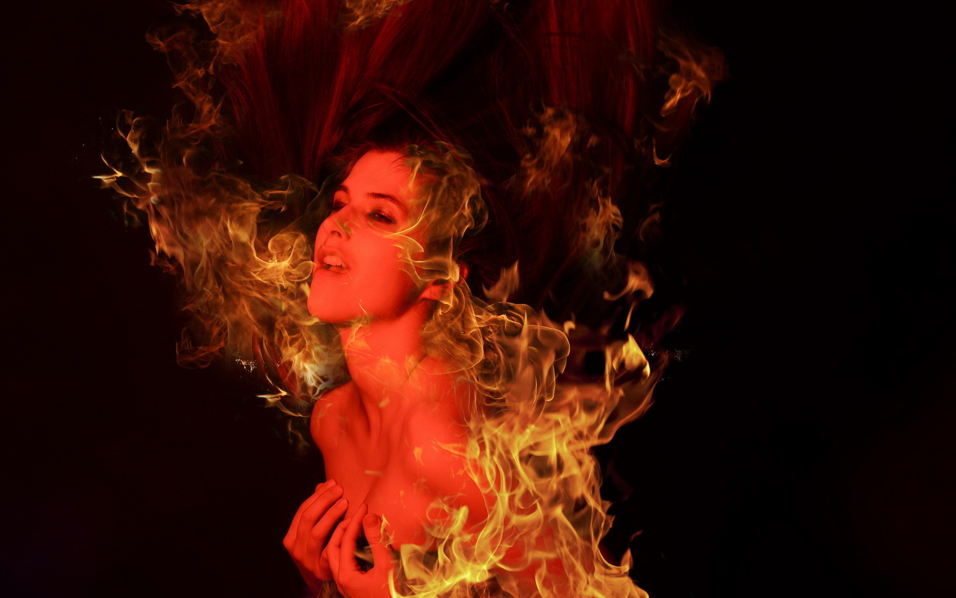 Girl Fire Love Dark Demon Fantasy Wallpaper At Dark Wallpapers