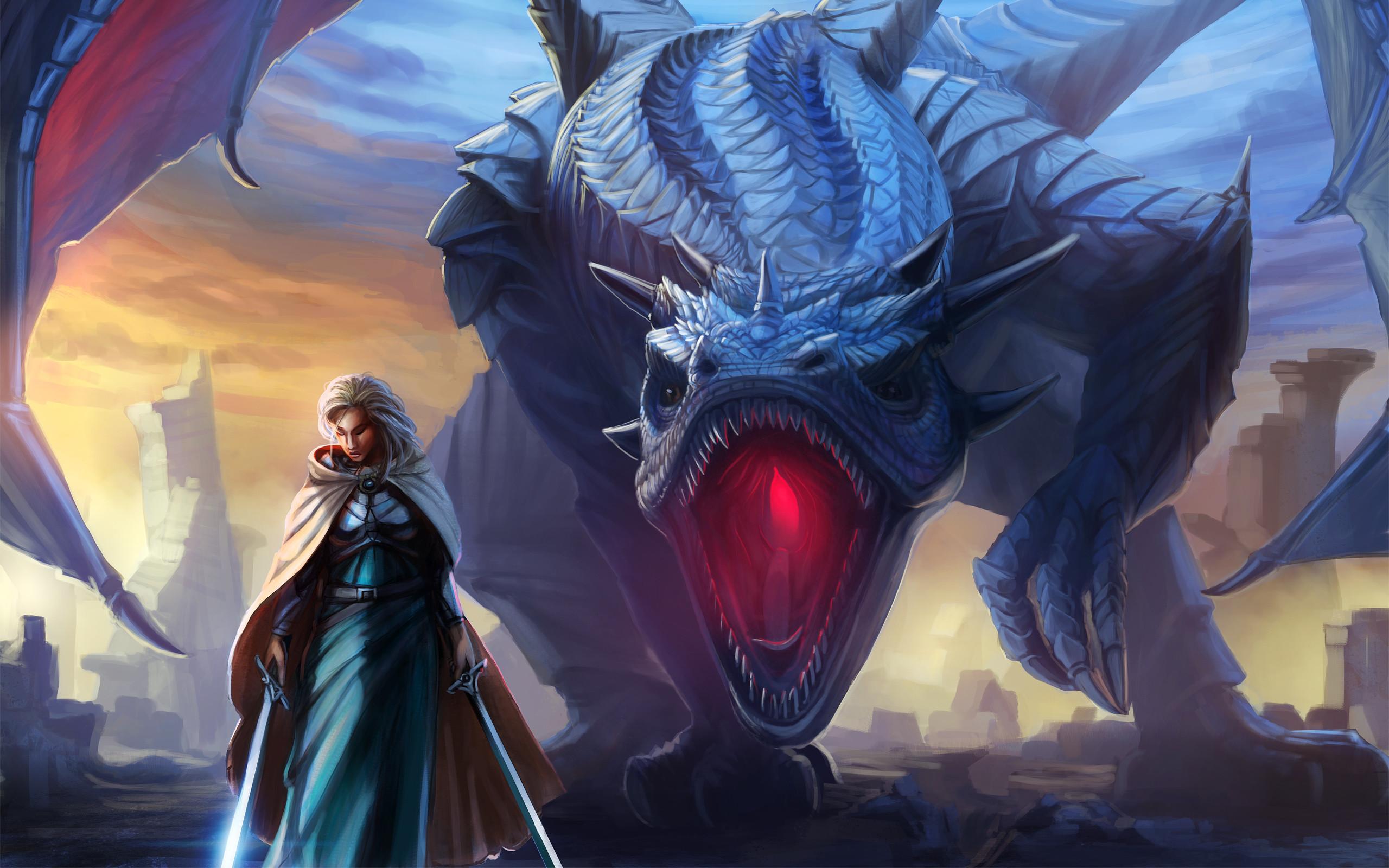 Fantasy – Dragon – Woman Warrior Wallpaper