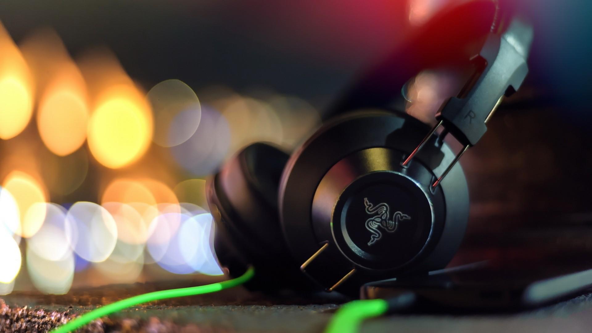 Wallpaper razer, adaro, headphones, stereo headphones, glare