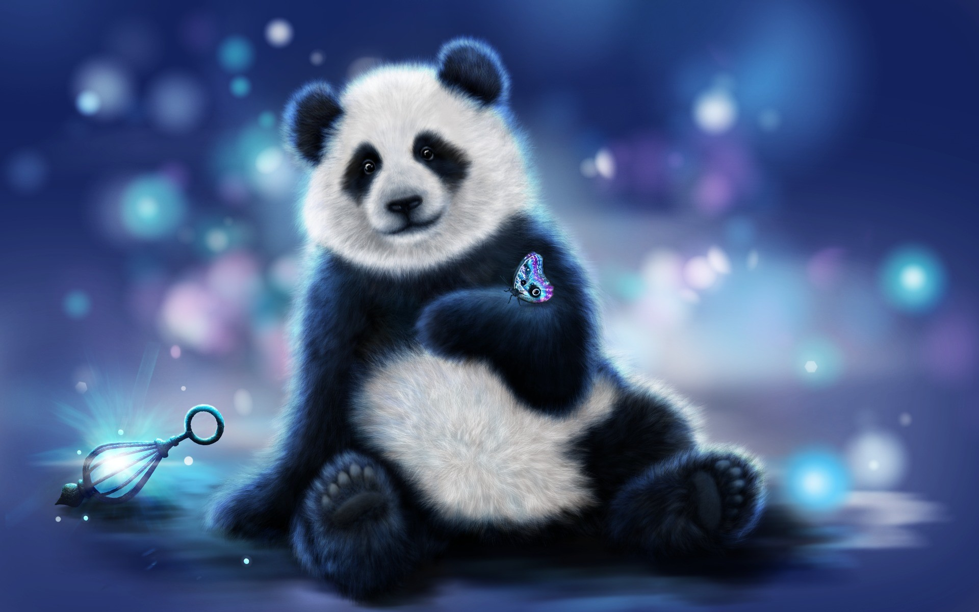 Cute Panda And Butterfly HD Wallpaper